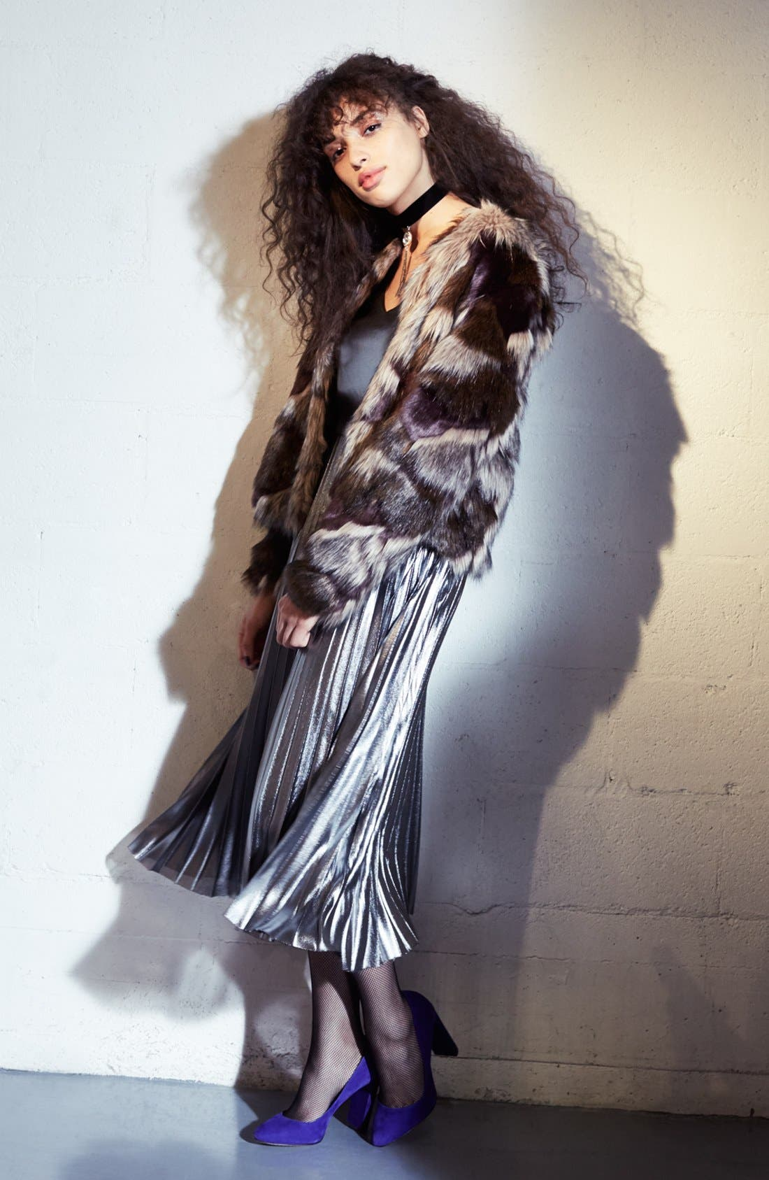 Alternate Image 8  - Love, Fire Pleated Foil Midi Dress