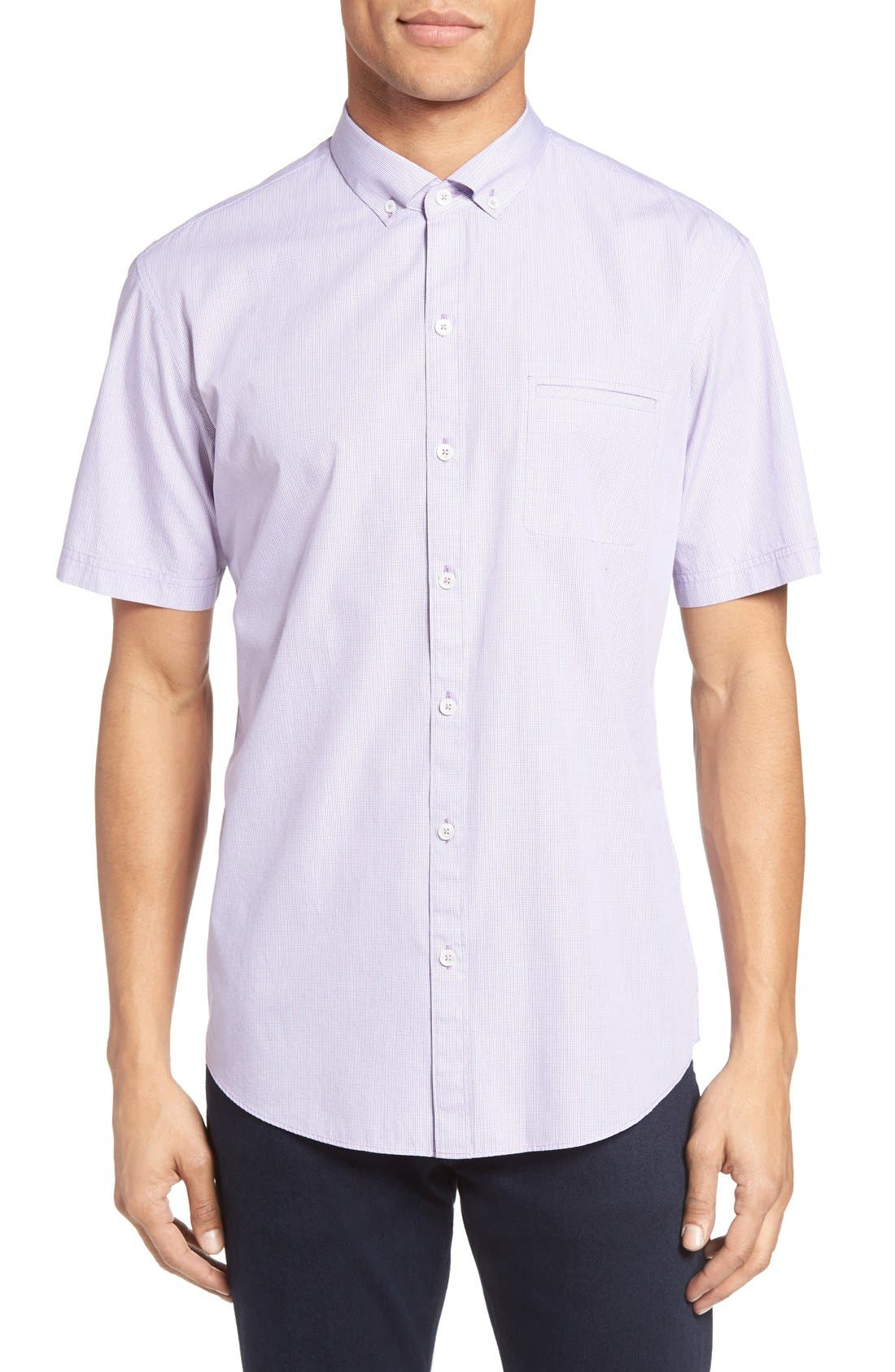 Friswold Slim Fit Plaid Sport Shirt,                         Main,                         color, Purple