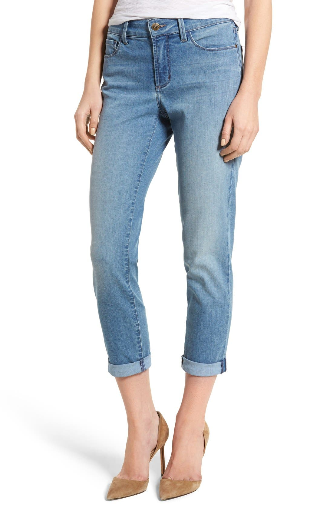 Alina Roll Cuff Stretch Ankle Skinny Jeans,                         Main,                         color, Pampelonne