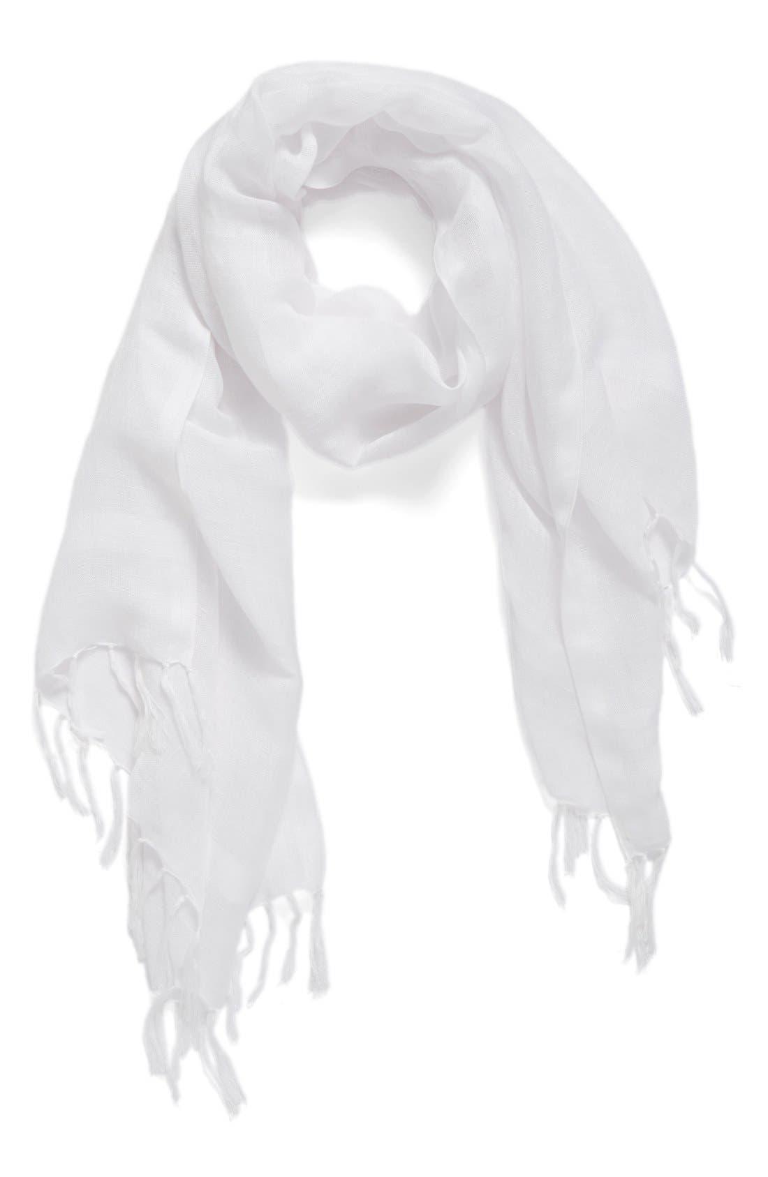Linen Blend Scarf,                             Alternate thumbnail 2, color,                             White