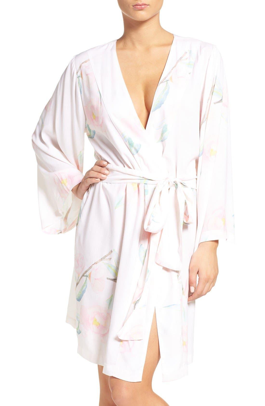 Main Image - Plum Pretty Sugar Oracle Floral Print Kimono Robe