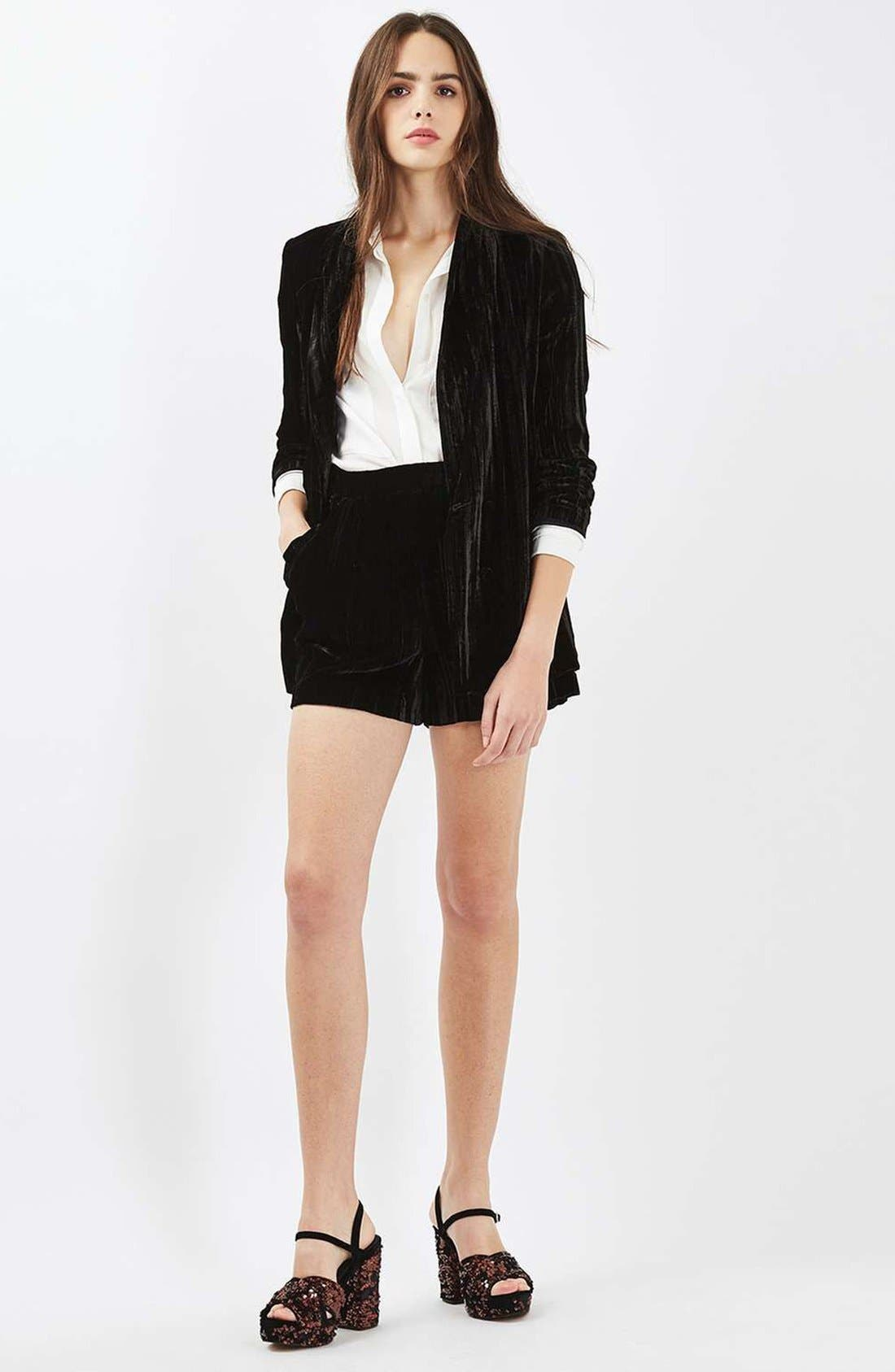 Alternate Image 2  - Topshop Pleat Velvet Blazer