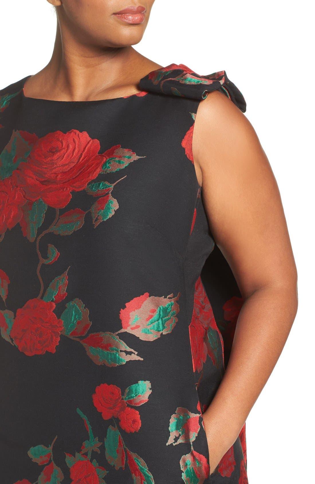 Alternate Image 4  - Tahari Rose Jacquard Shift Dress (Plus Size)