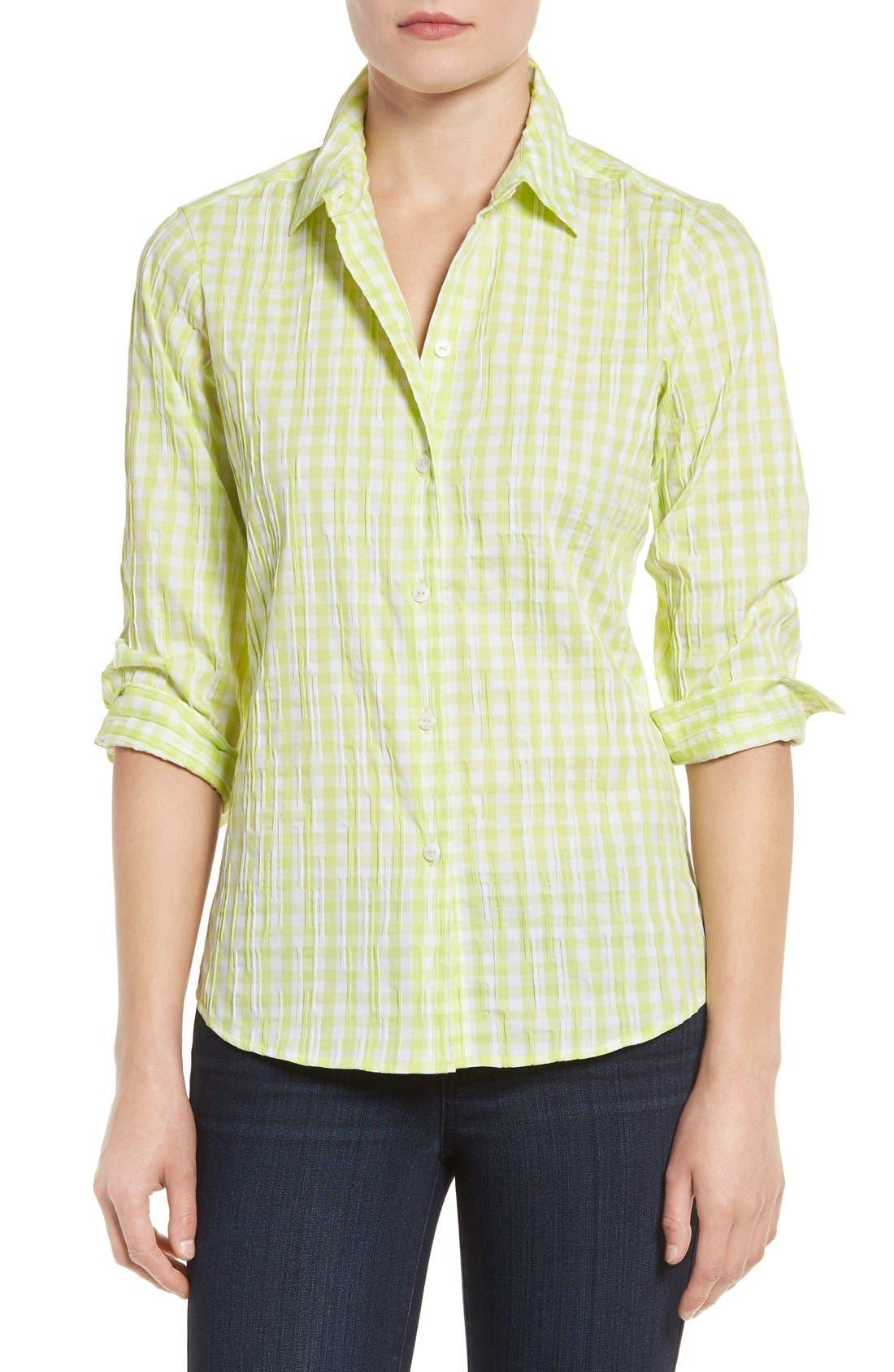 Crinkled Gingham Shirt,                         Main,                         color, Honeydew