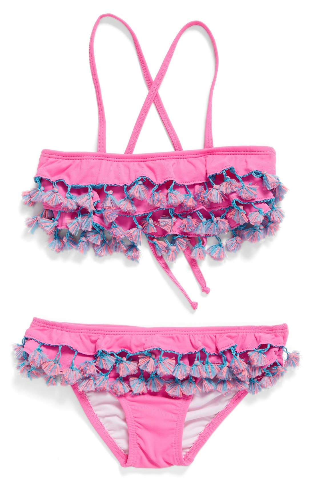 Tassel Ruffle Two-Piece Swimsuit,                         Main,                         color, Cosmic Pink