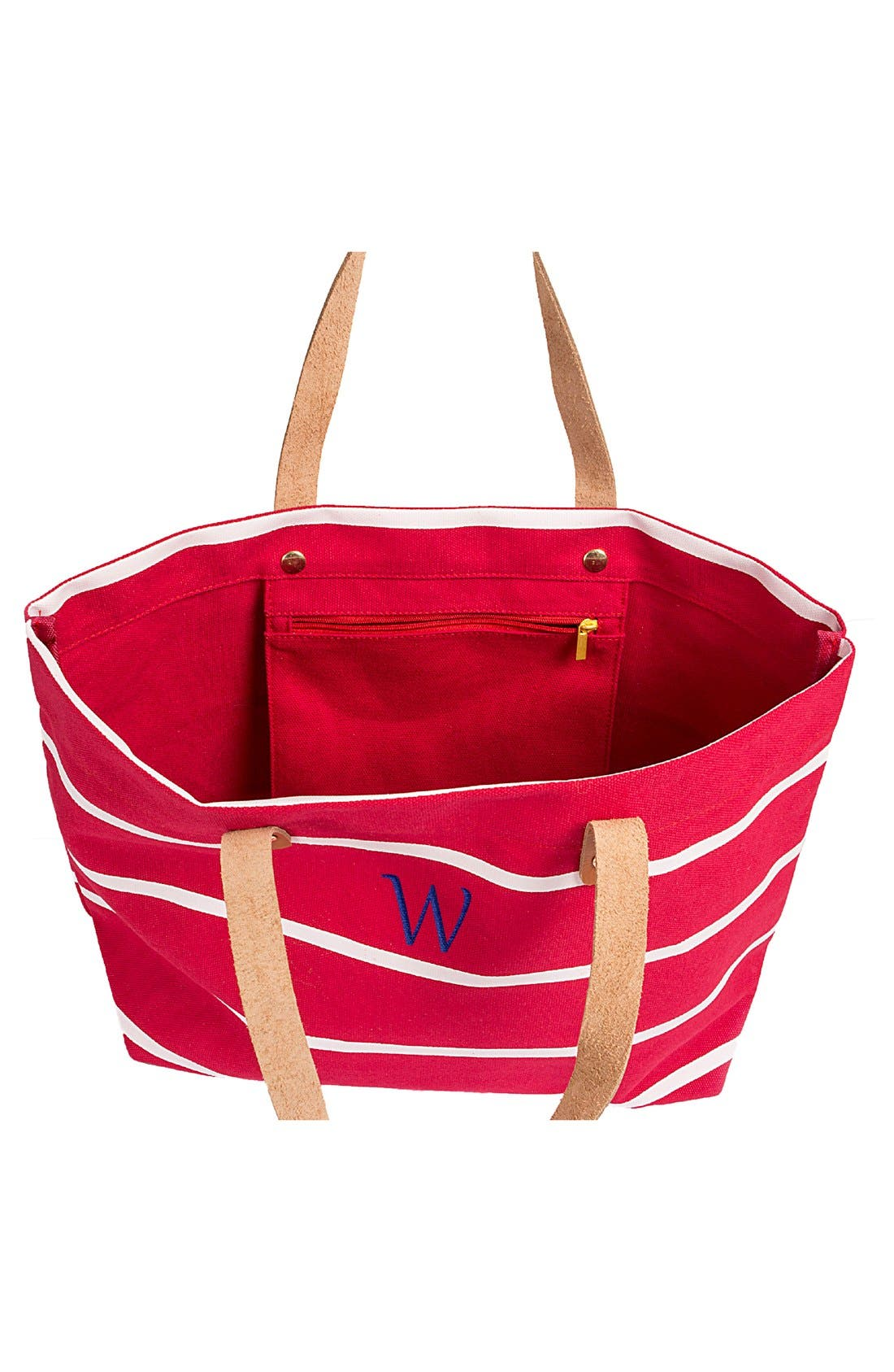 Alternate Image 2  - Cathy's Concepts Monogram Stripe Tote