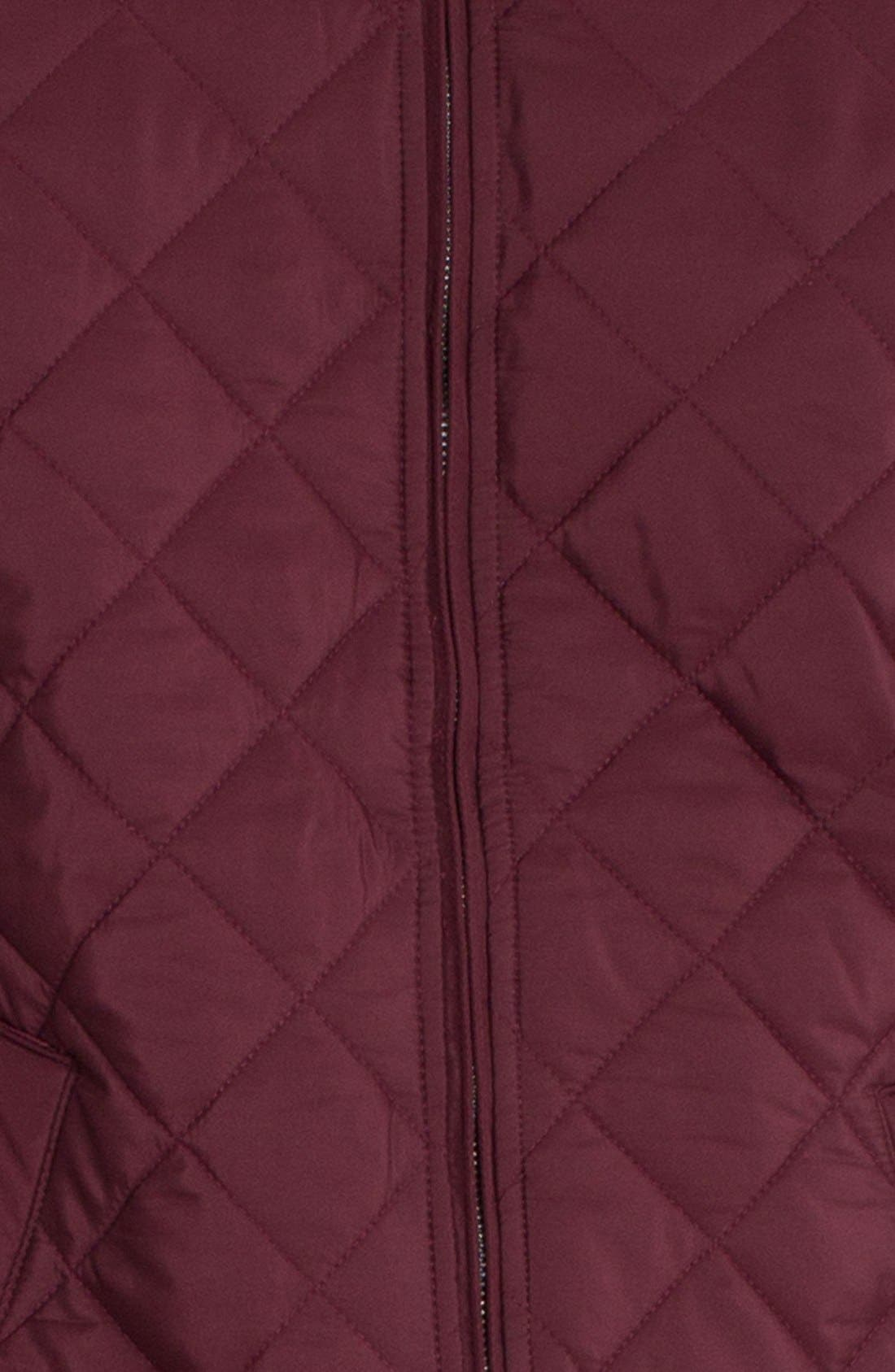 'Gatti' Quilted Panel Lambswool Knit Jacket,                             Alternate thumbnail 4, color,                             Maroon