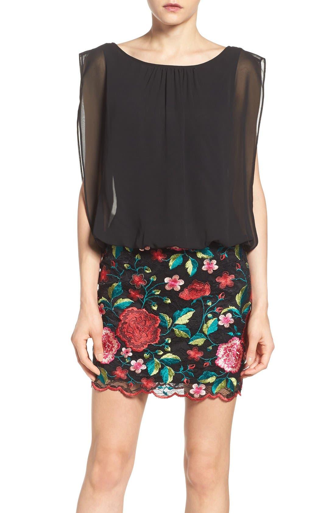 Alternate Image 1 Selected - Aidan by Aidan Mattox Chiffon & Embroidered Lace Dress