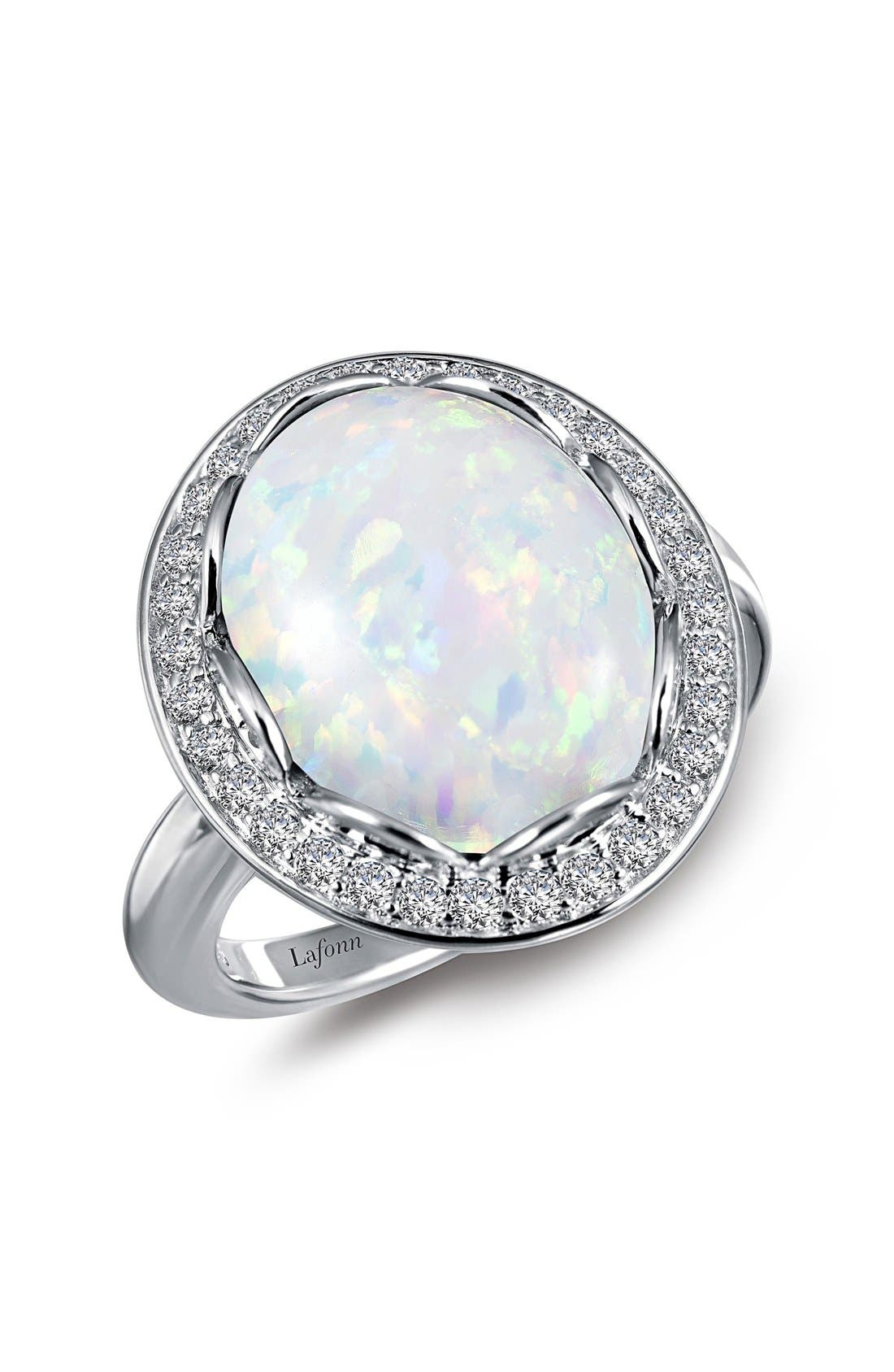 Simulated Opal Halo Ring,                         Main,                         color, Silver
