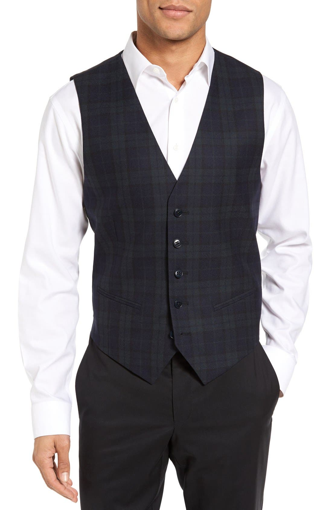JB Britches Regular Fit Plaid Wool Vest