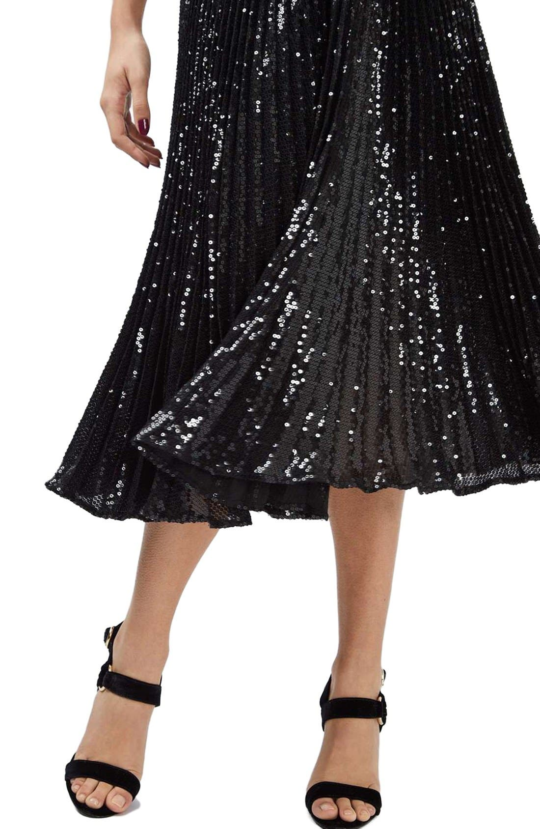 Alternate Image 5  - Topshop Sequin Pleated Dress