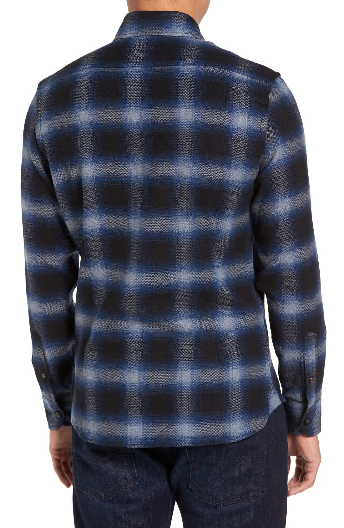 Michael Slim Fit Plaid Flannel Shirt,                             Alternate thumbnail 2, color,                             Blue
