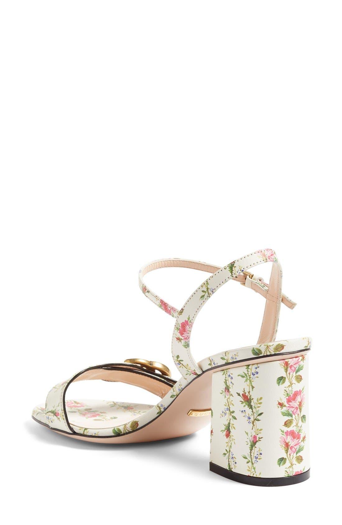 GG Marmont Block Heel Sandal,                             Alternate thumbnail 2, color,                             White Floral