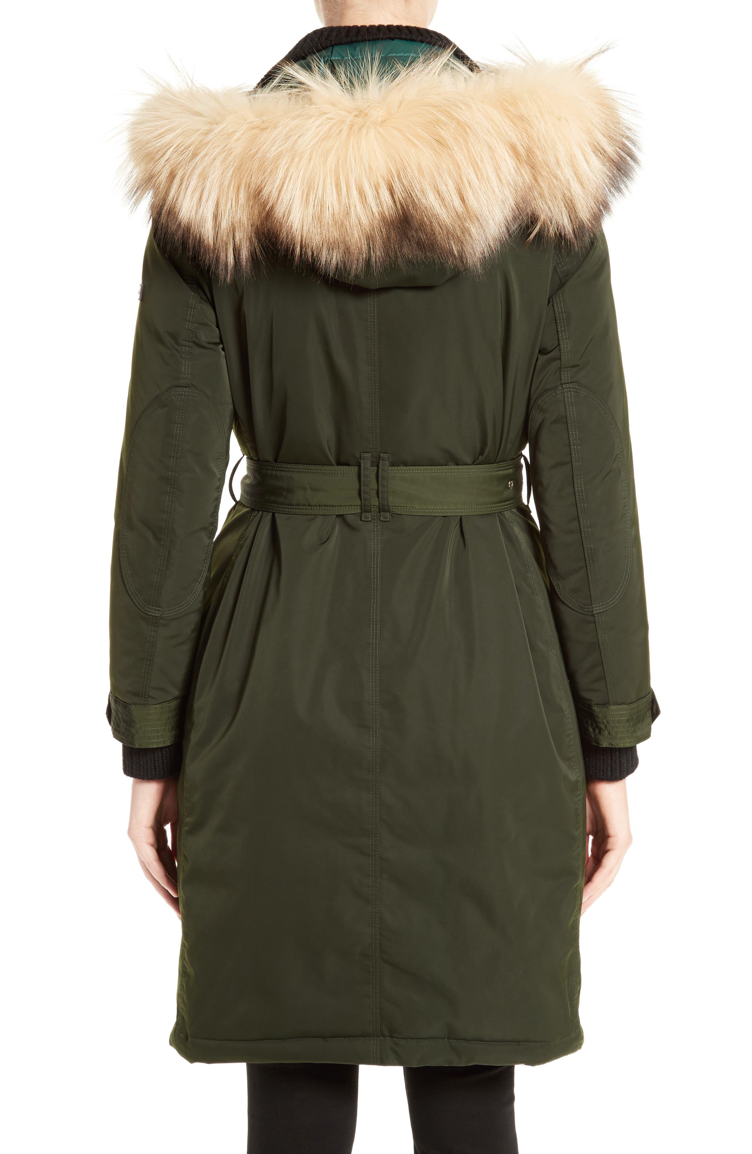 Hunnbridge Parka with Genuine Fox Fur Trim,                             Alternate thumbnail 2, color,                             Dark Cedar Green