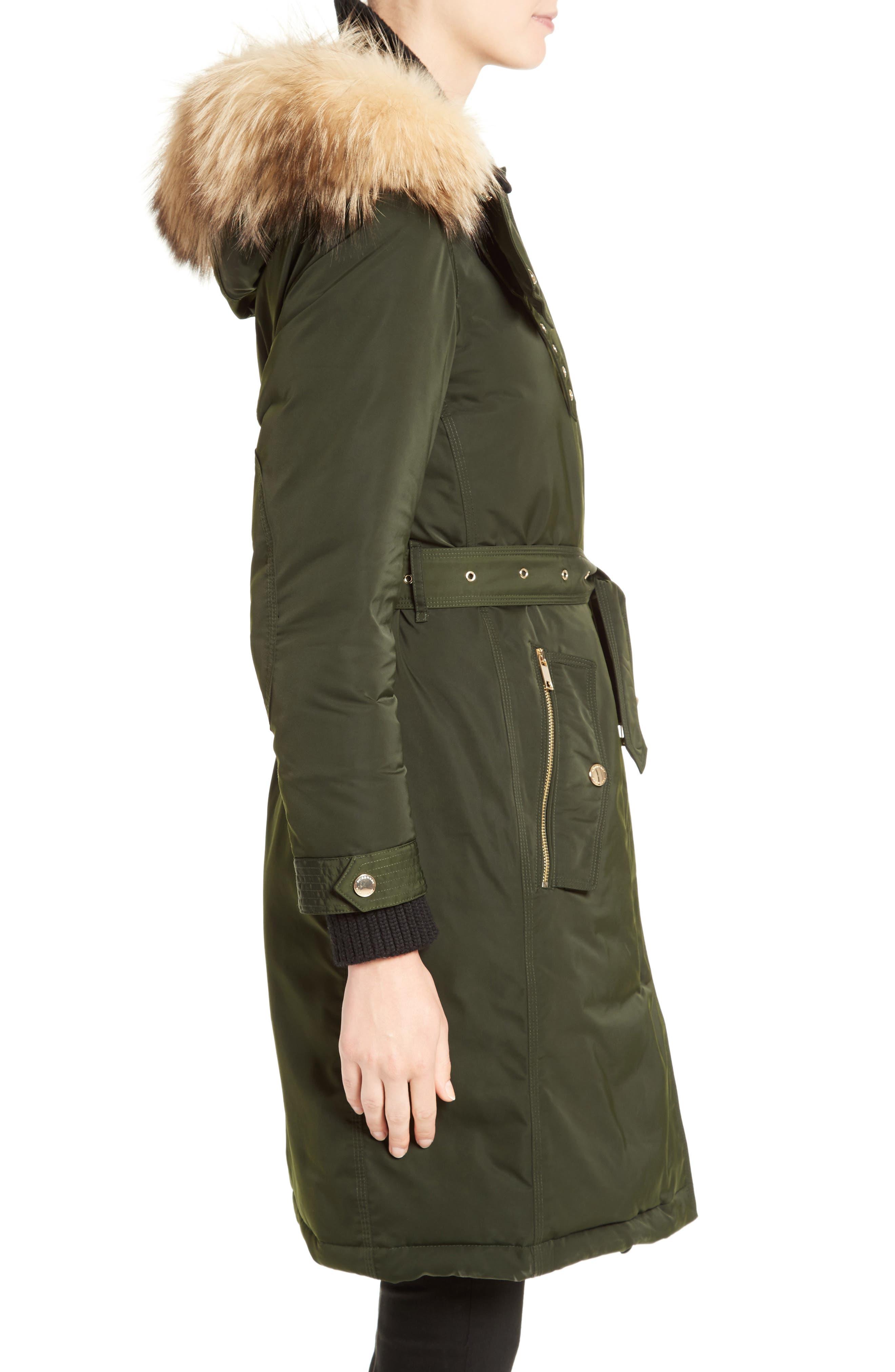 Hunnbridge Parka with Genuine Fox Fur Trim,                             Alternate thumbnail 4, color,                             Dark Cedar Green