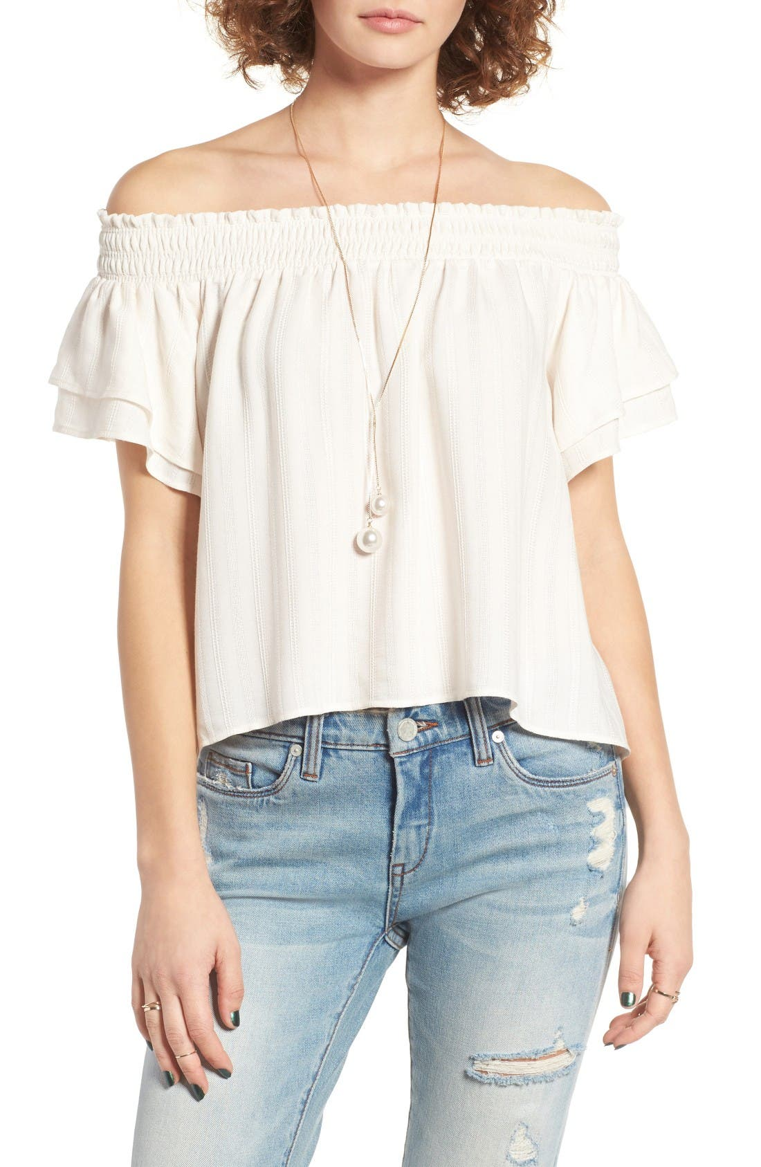 Main Image - ASTR the Label Cameron Off the Shoulder Top