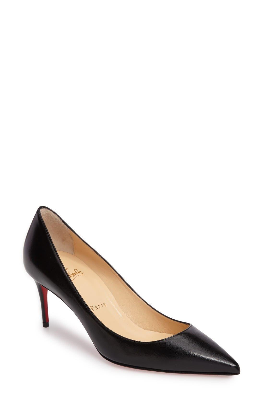 'Decollette' Pointy Toe Pump,                         Main,                         color, Black Leather
