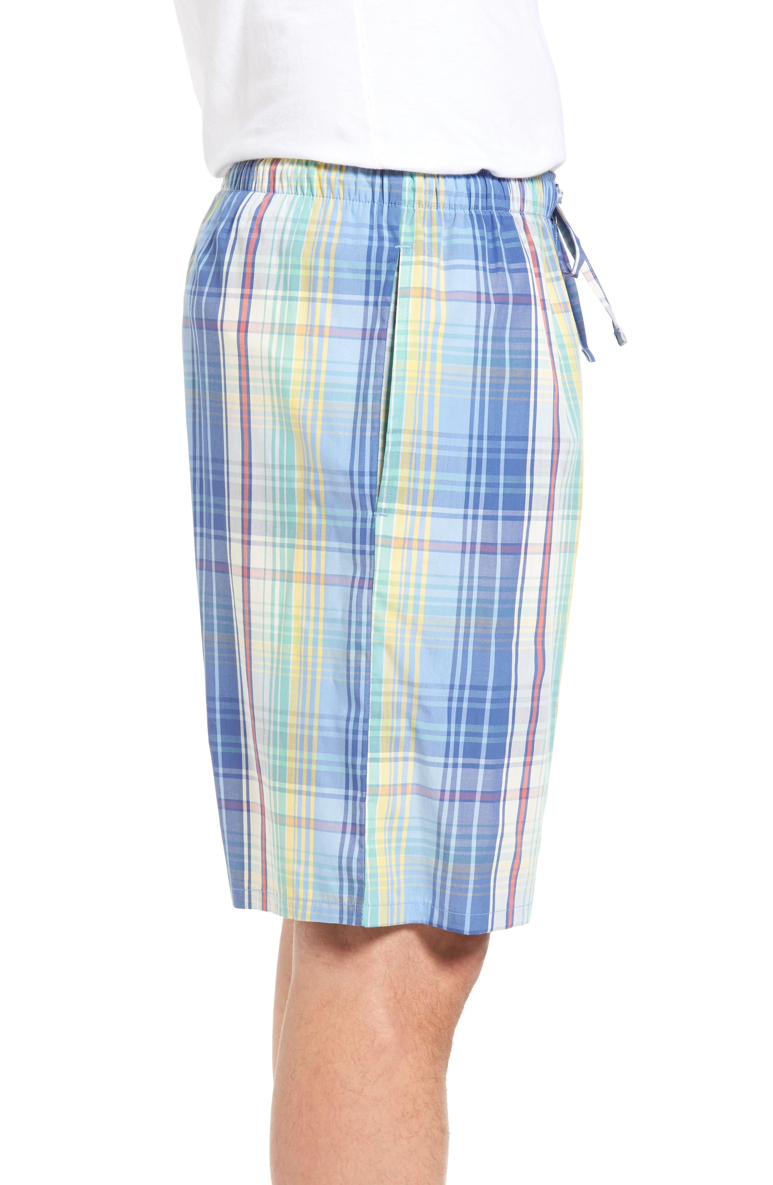 Cotton Pajama Shorts,                             Alternate thumbnail 3, color,                             Avery Plaid