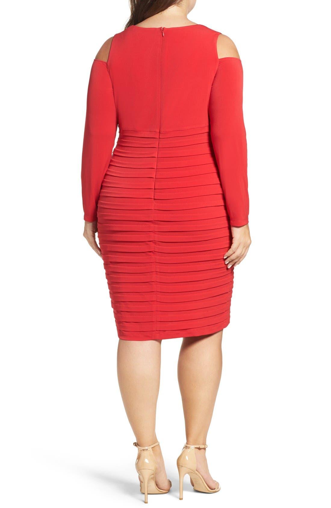 Alternate Image 2  - London Times Cold Shoulder Shutter Pleat Jersey Sheath Dress (Plus Size)