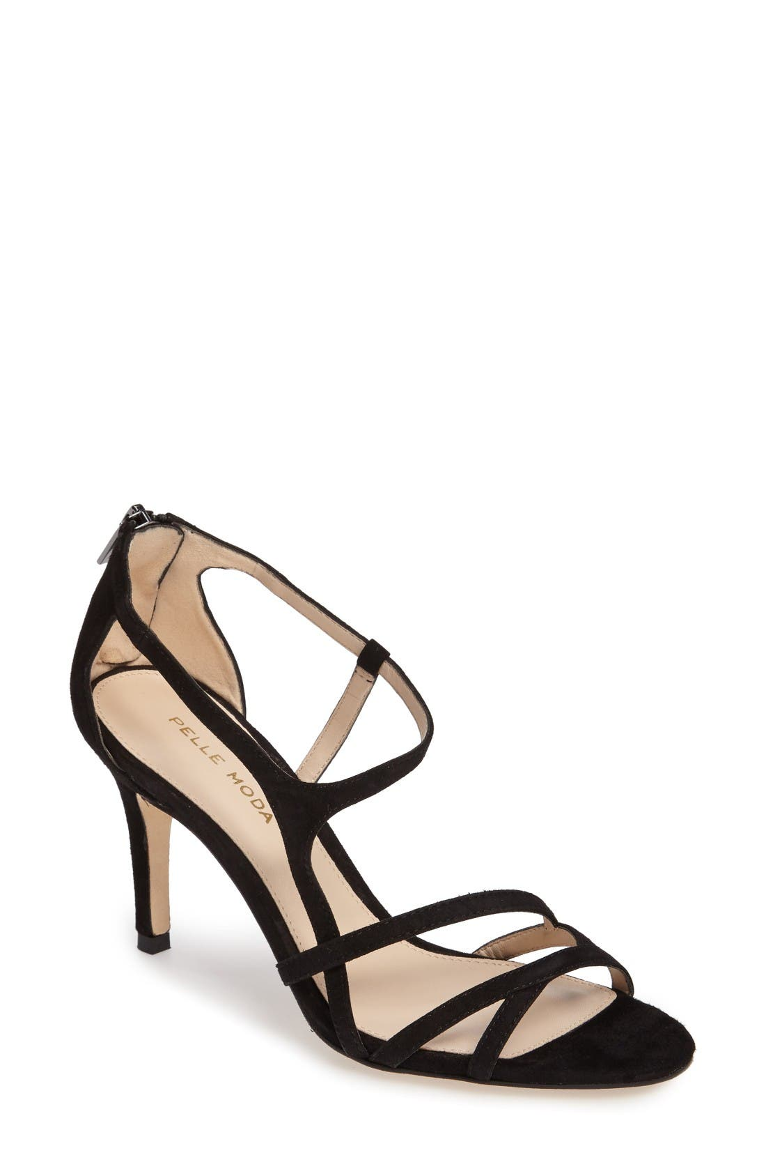 Ruby Asymmetrical Strappy Sandal,                         Main,                         color, Black Leather