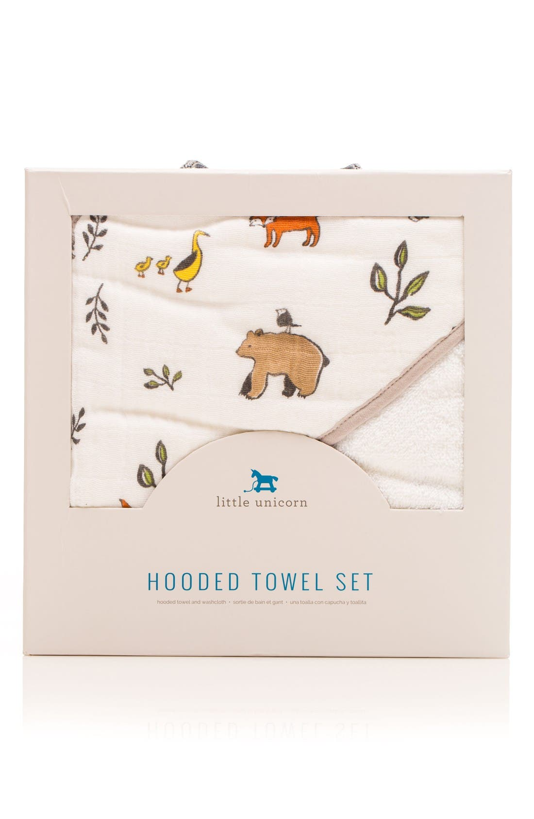 Hooded Towel and Washcloth Set,                             Main thumbnail 1, color,                             Forest Friends