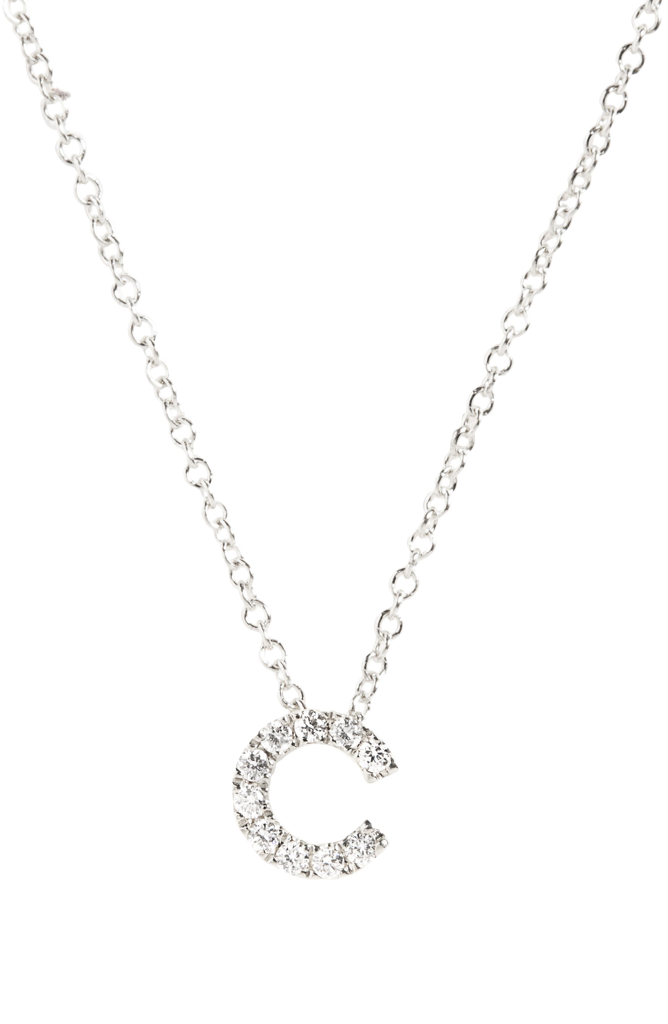 BONY LEVY Pavé Diamond Initial Pendant Necklace