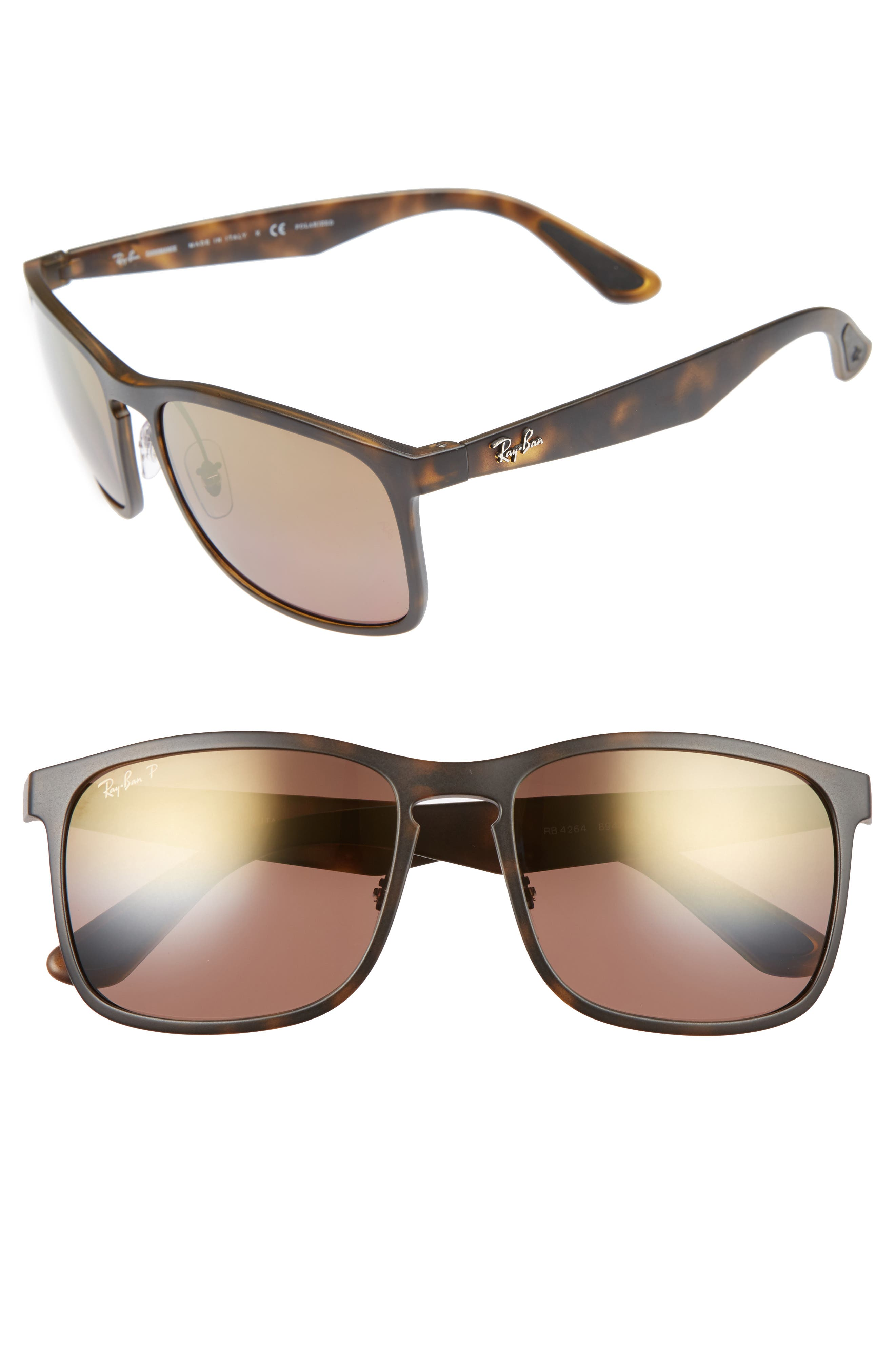 58mm Chromance Sunglasses,                         Main,                         color, Matte Havana/Brown Mirror Gold