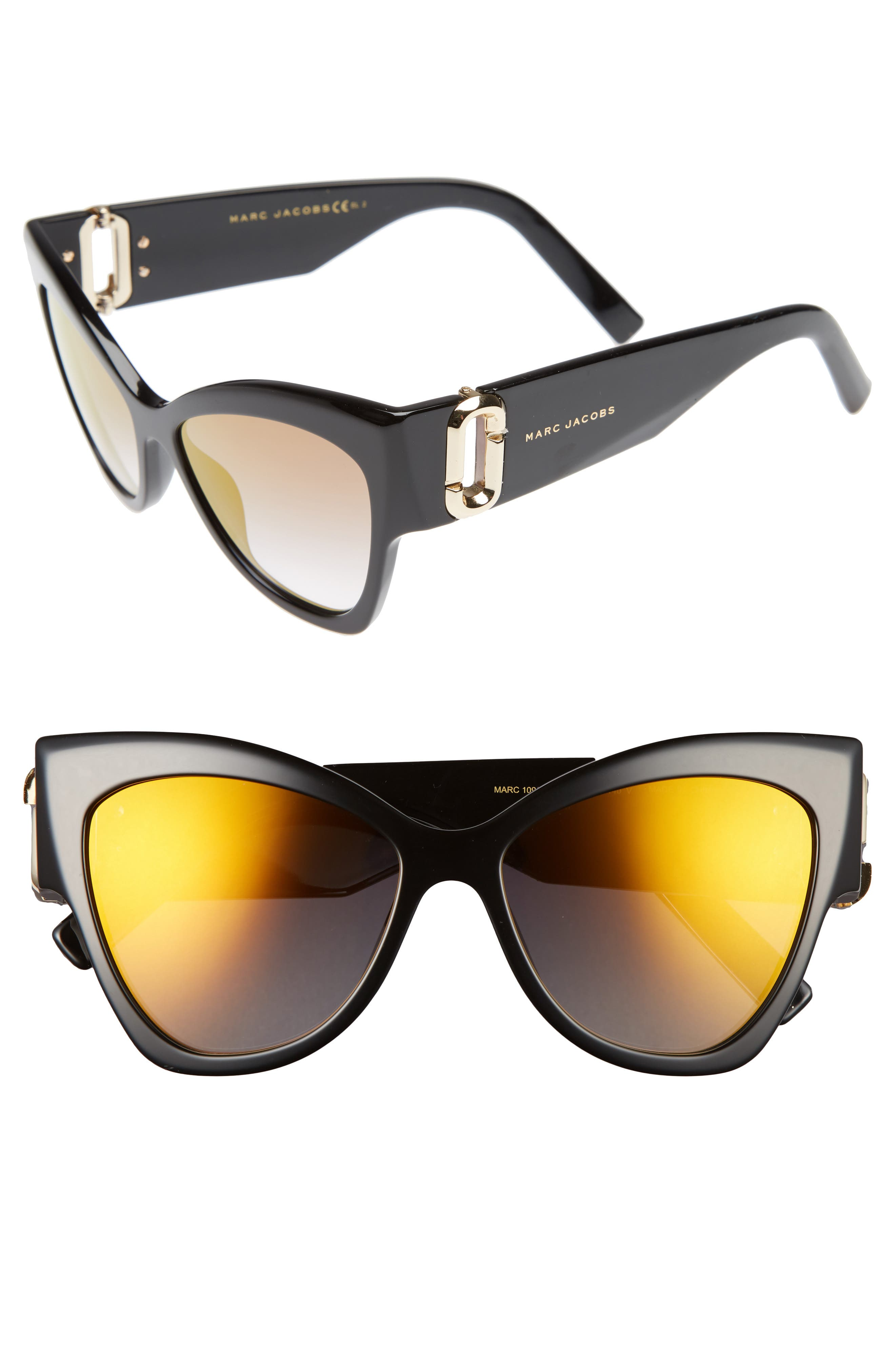 54mm Oversized Sunglasses,                         Main,                         color, Black