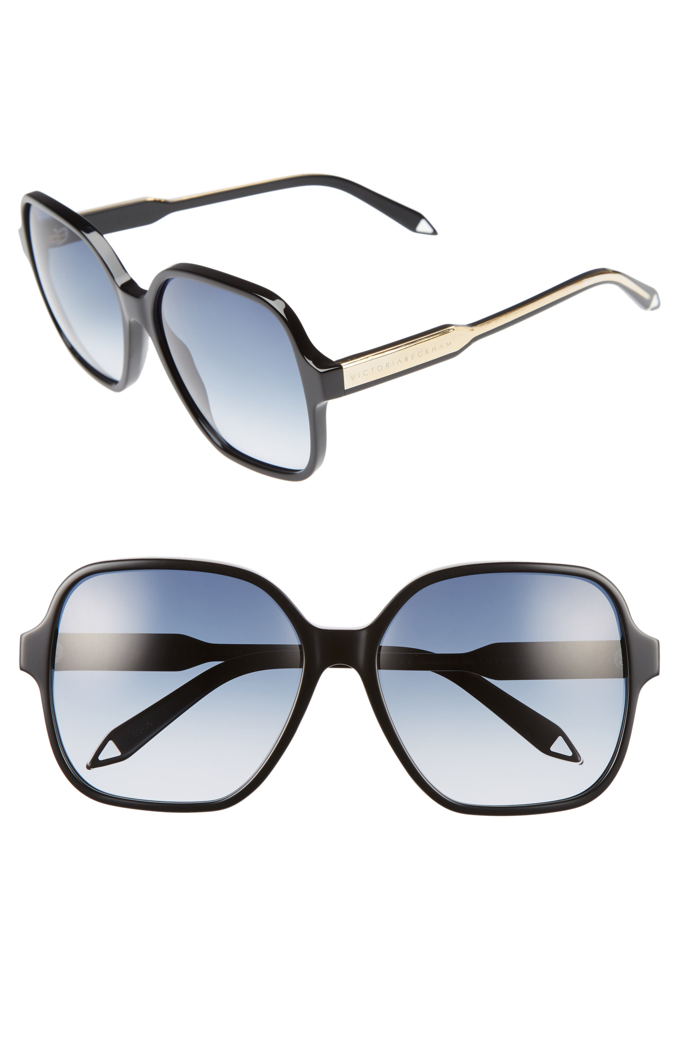 Iconic Square 59mm Sunglasses,                             Main thumbnail 1, color,                             Black/ Navy