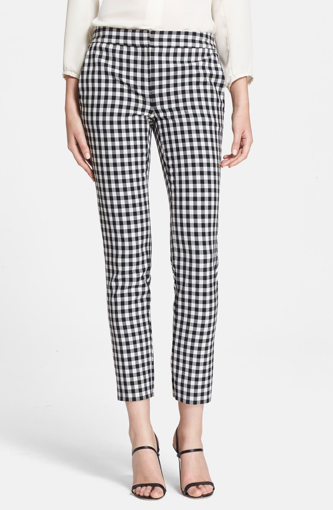 'Genesis' Gingham Pants,                         Main,                         color, Black/ White