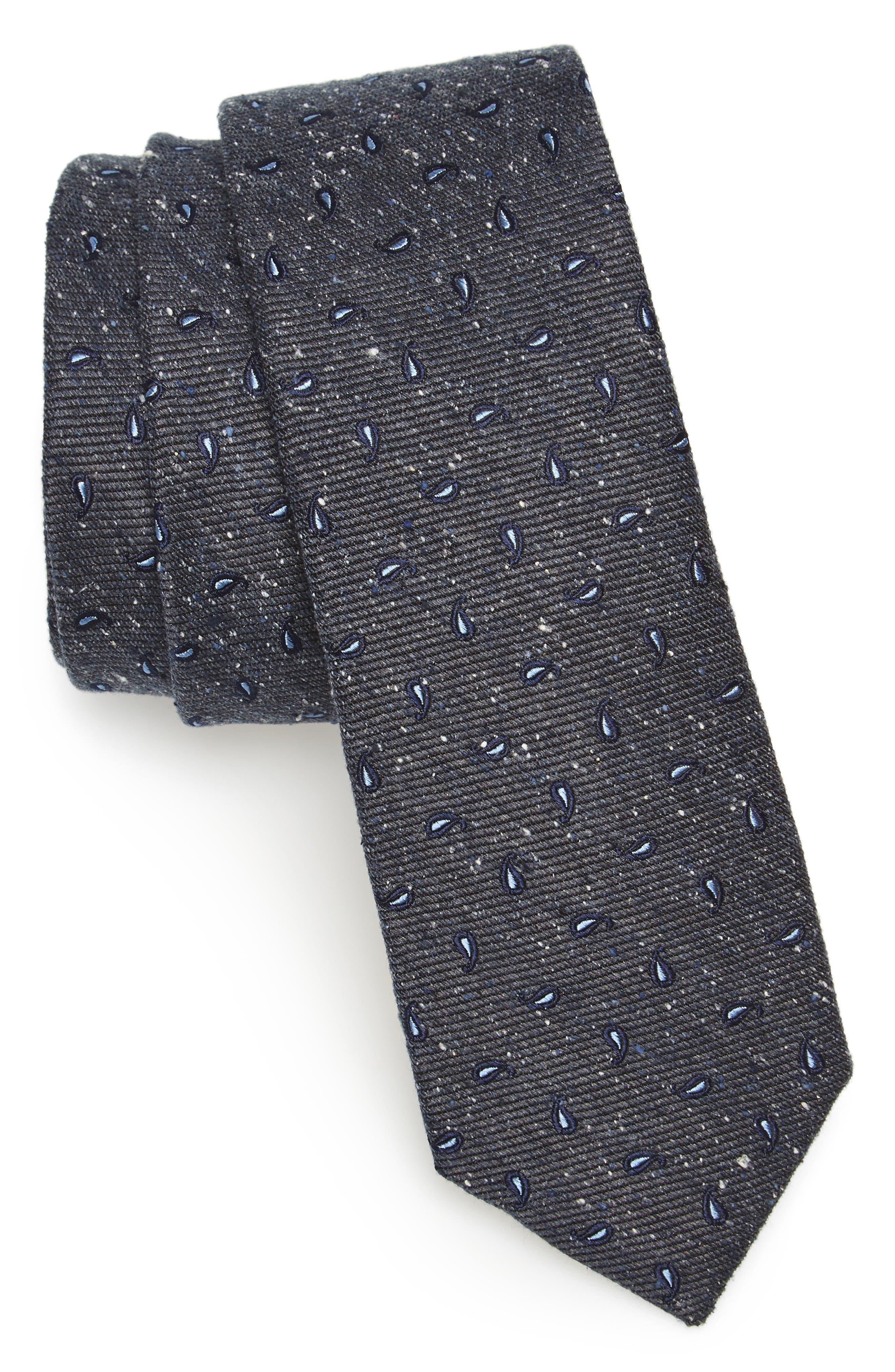 Paisley Nep Silk Tie,                         Main,                         color, Deep Slate Blue