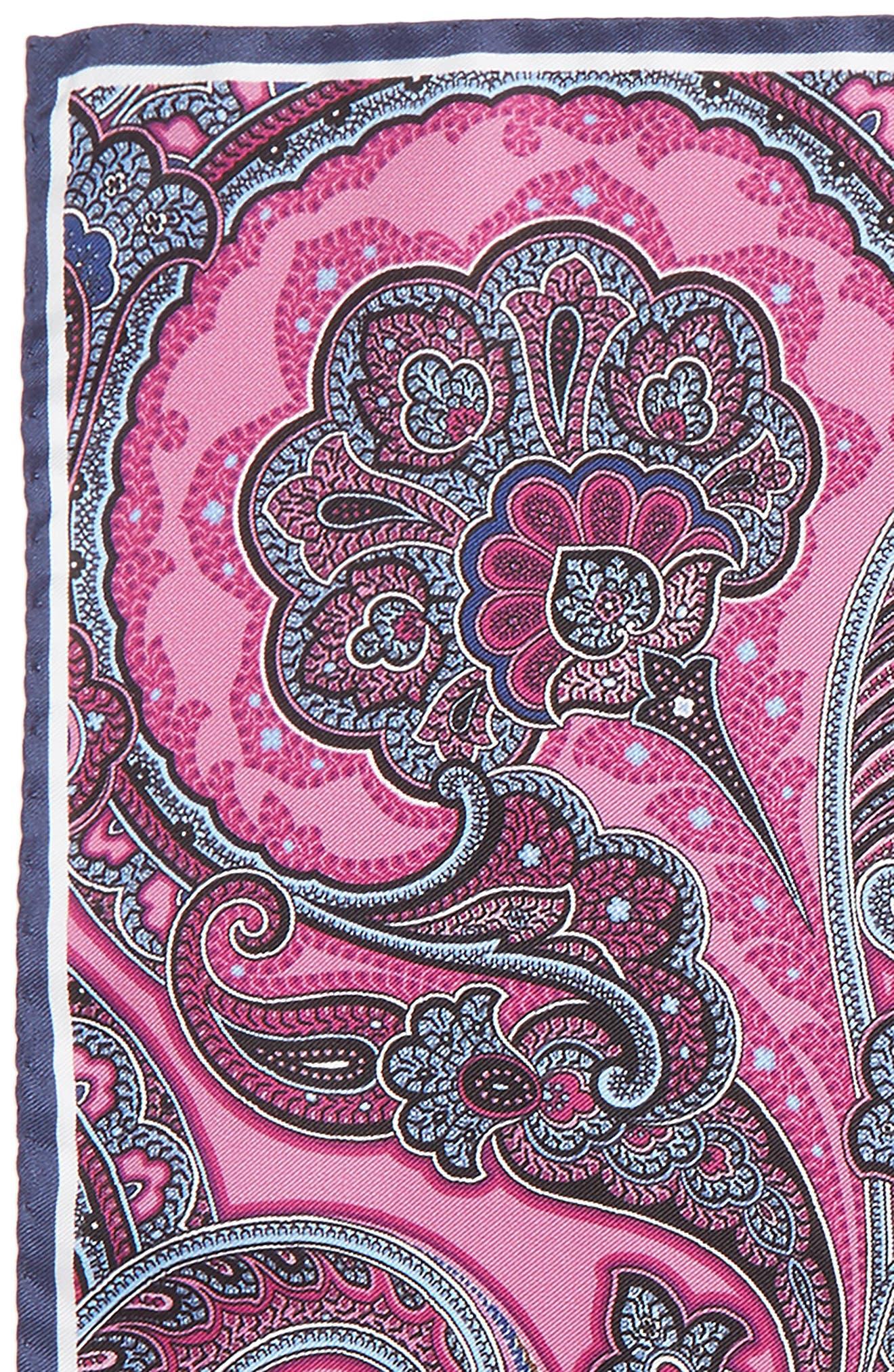 Paisley Silk Pocket Square,                             Alternate thumbnail 2, color,                             Pink