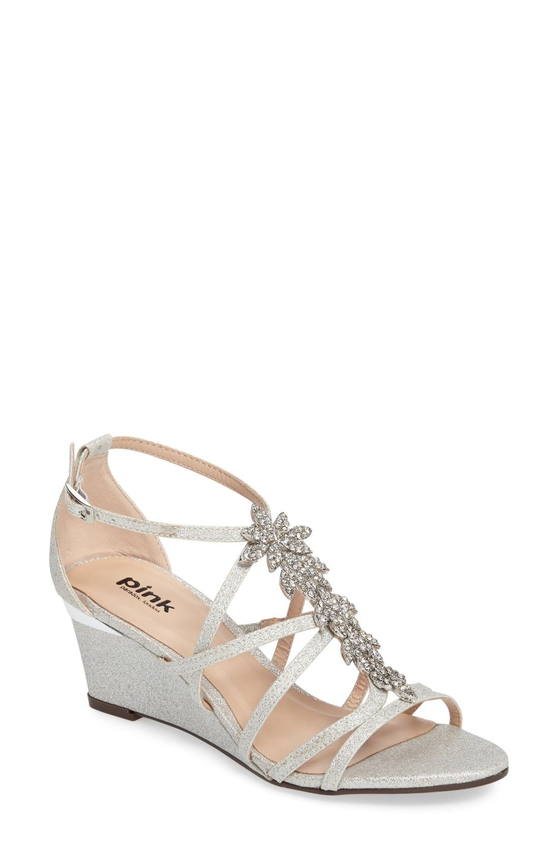 Hadley Embellished Strappy Wedge,                             Main thumbnail 1, color,                             Silver