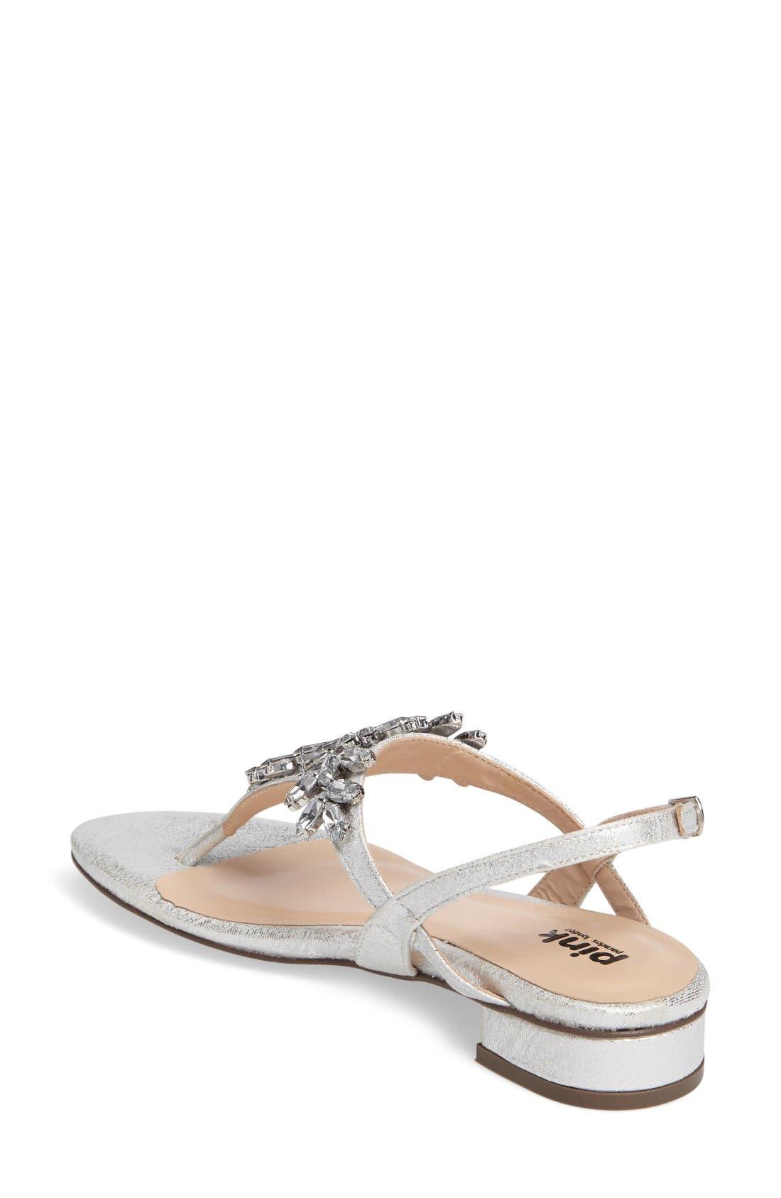 Flame Crystal Embellished Sandal,                             Alternate thumbnail 2, color,                             Silver