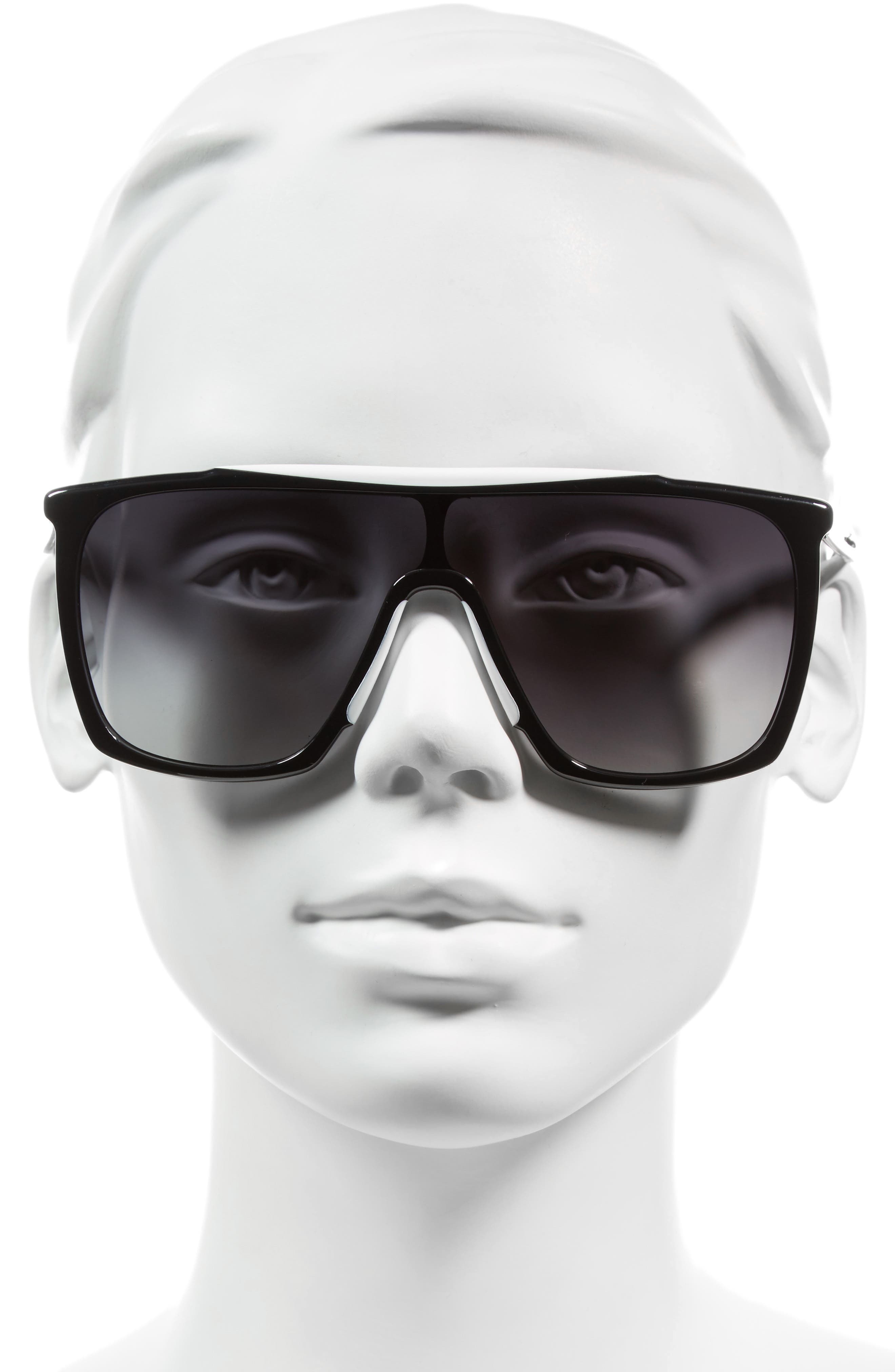 53mm Mask Sunglasses,                             Alternate thumbnail 2, color,                             Black/ White