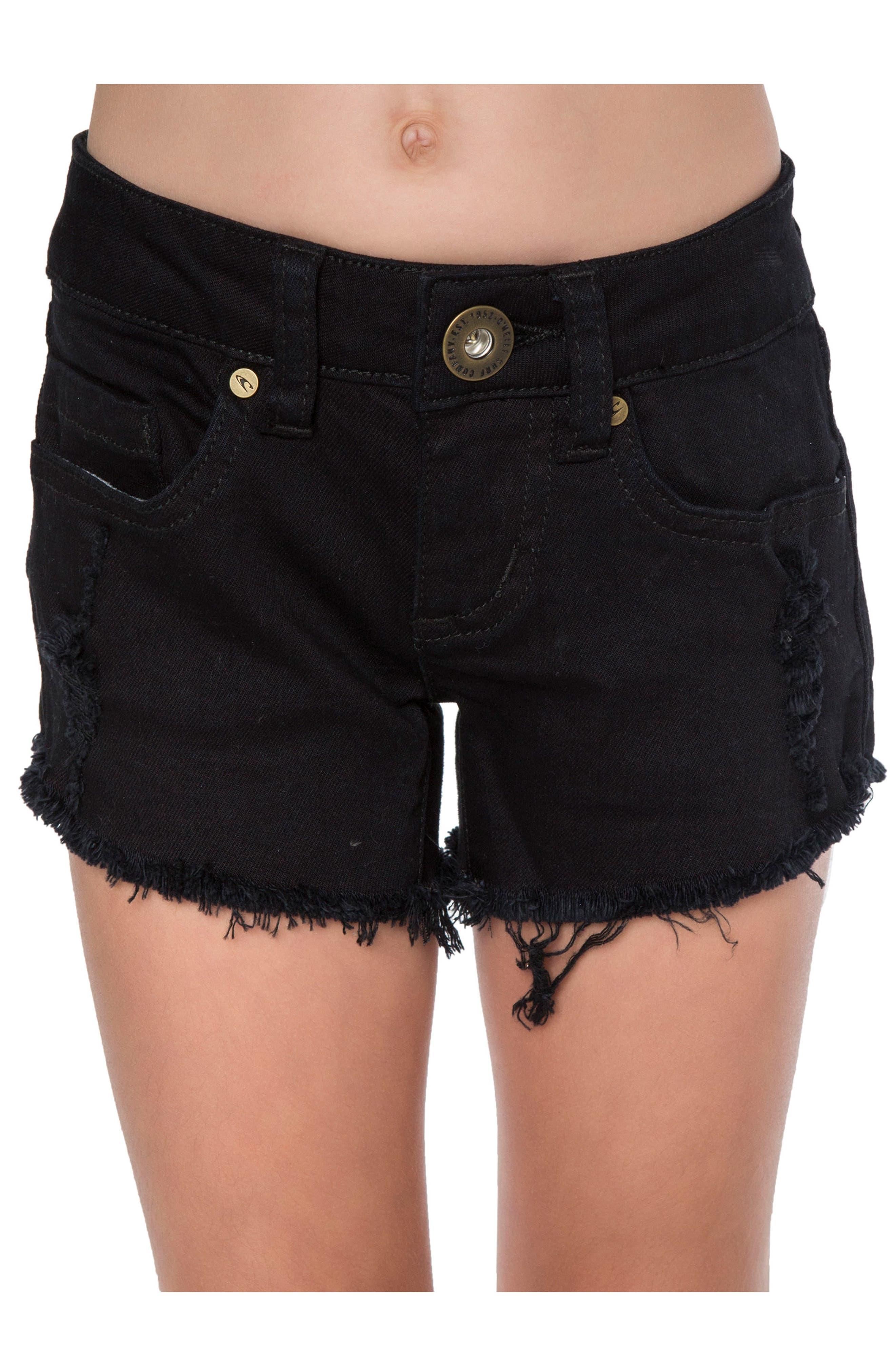 Compass Cutoff Shorts,                             Main thumbnail 1, color,                             Black