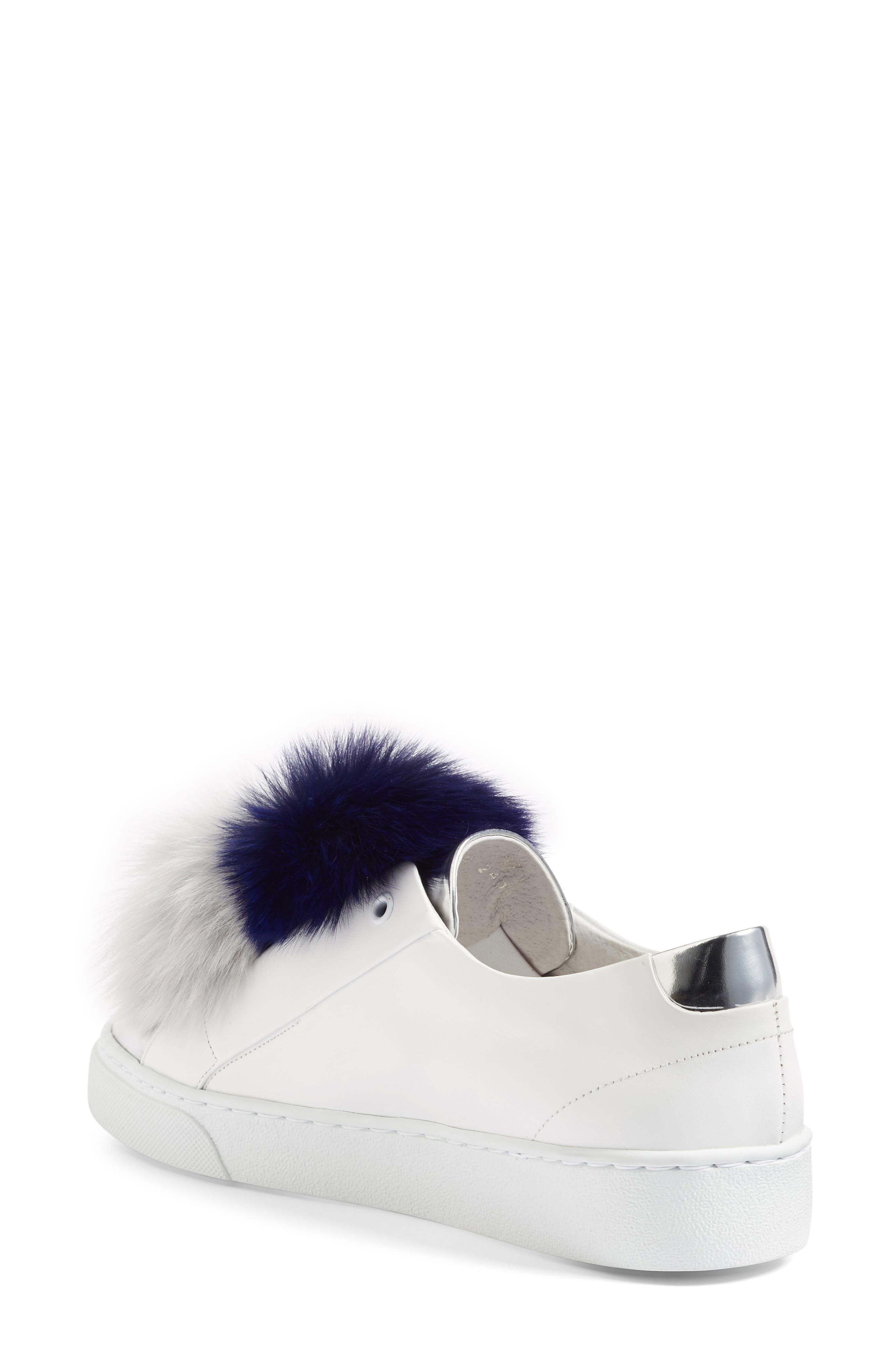 Arian Genuine Fox Fur Trim Sneaker,                             Alternate thumbnail 2, color,                             White Leather/ Navy/ Grey