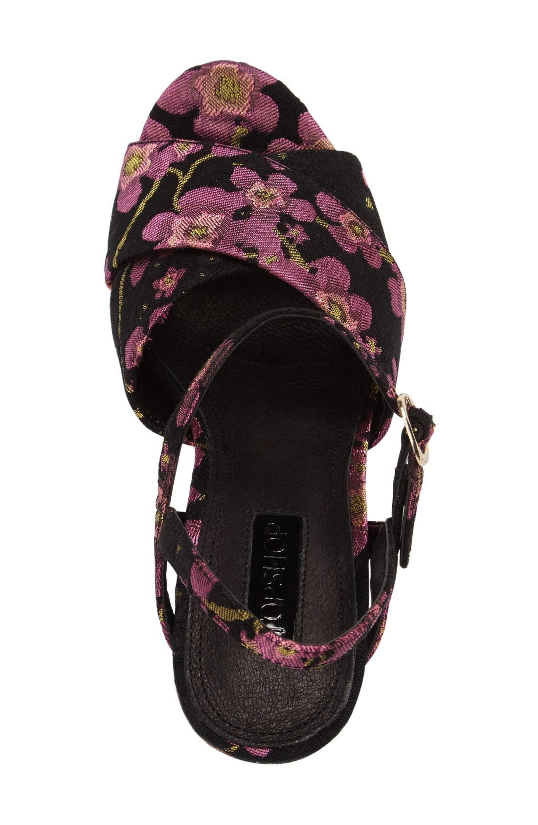'Leona' Print Platform Sandal,                             Alternate thumbnail 3, color,                             Dark Pink Multi