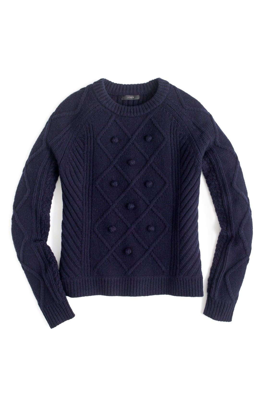 J.Crew Hawthorne Cable Pom-Pom Sweater