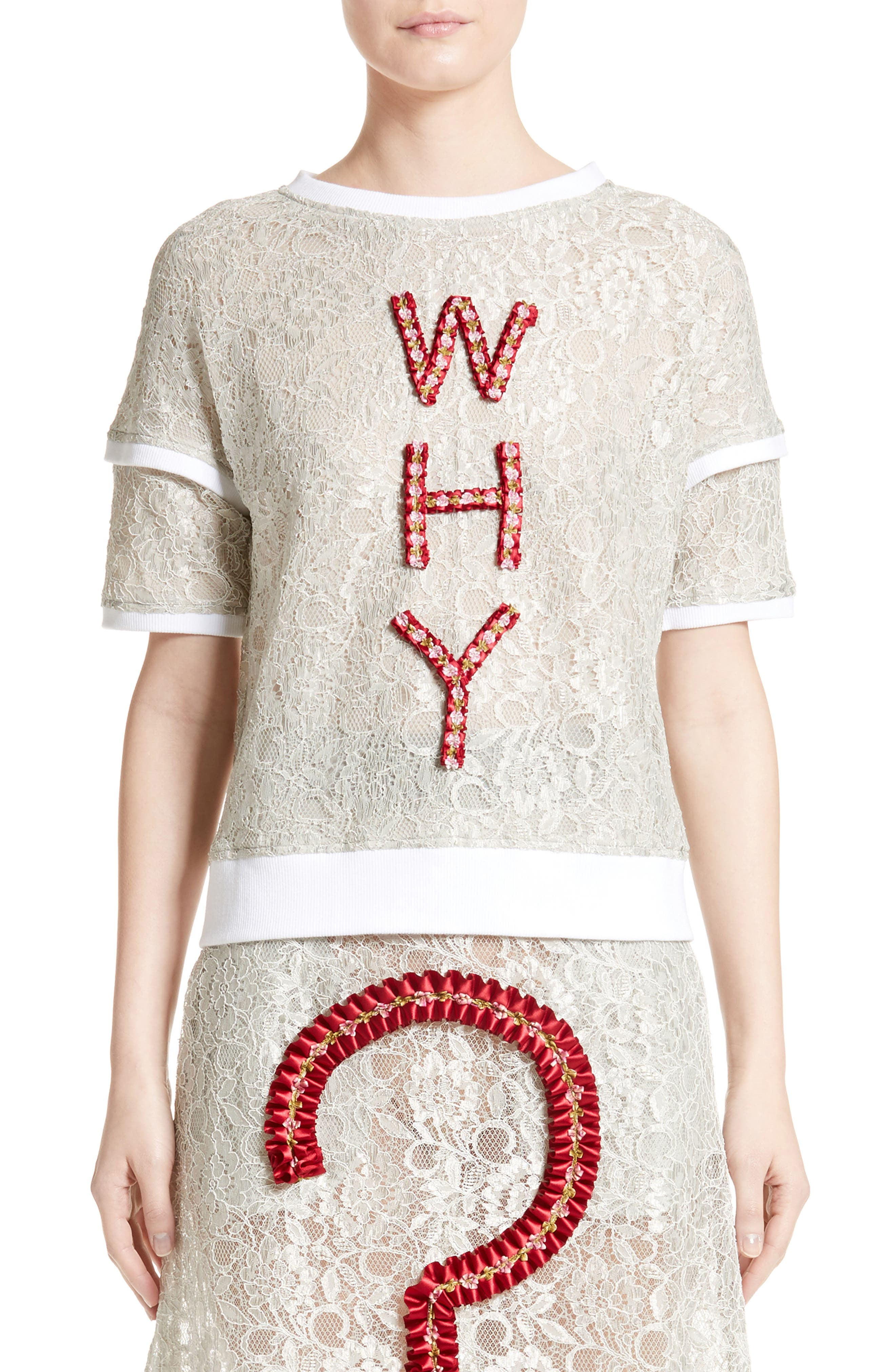 Why Lace Tee,                         Main,                         color, White