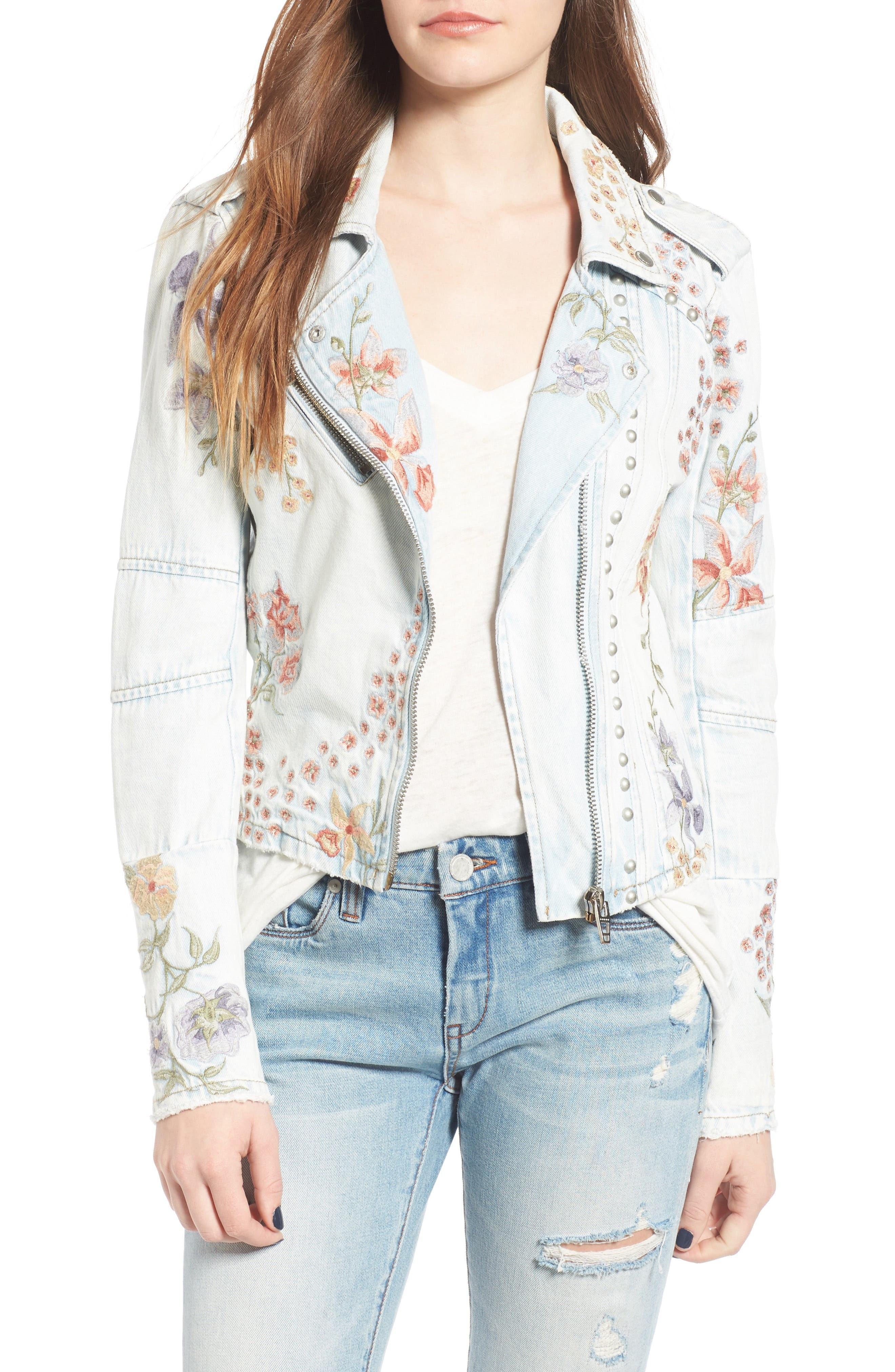 Embroidered Denim Moto Jacket,                         Main,                         color, Sitting Pretty