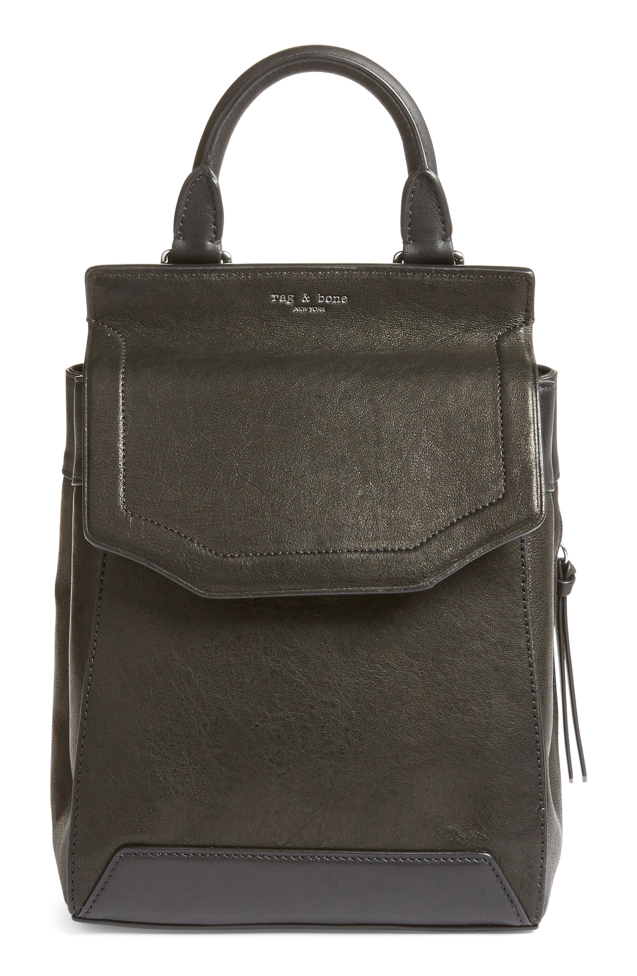 Small Pilot II Leather Backpack,                         Main,                         color, Black