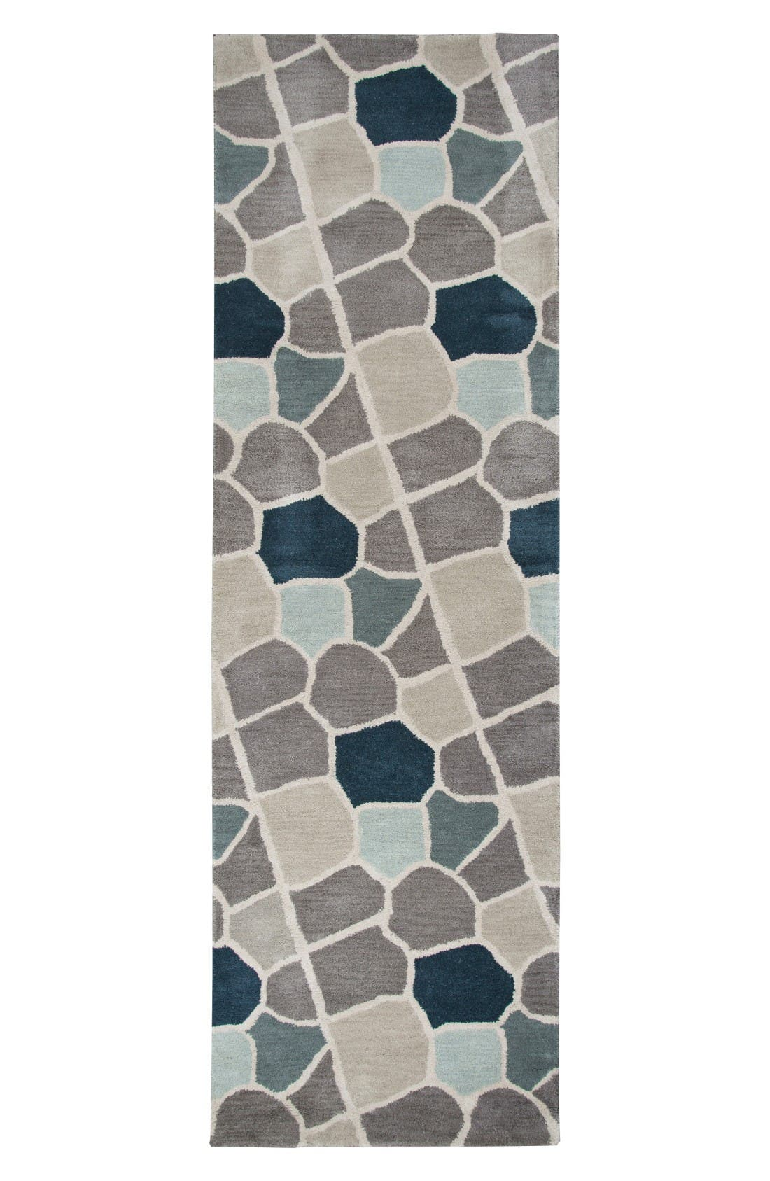 Cobble Geo Hand Tufted Wool Area Rug,                             Alternate thumbnail 4, color,                             Grey/ Blue