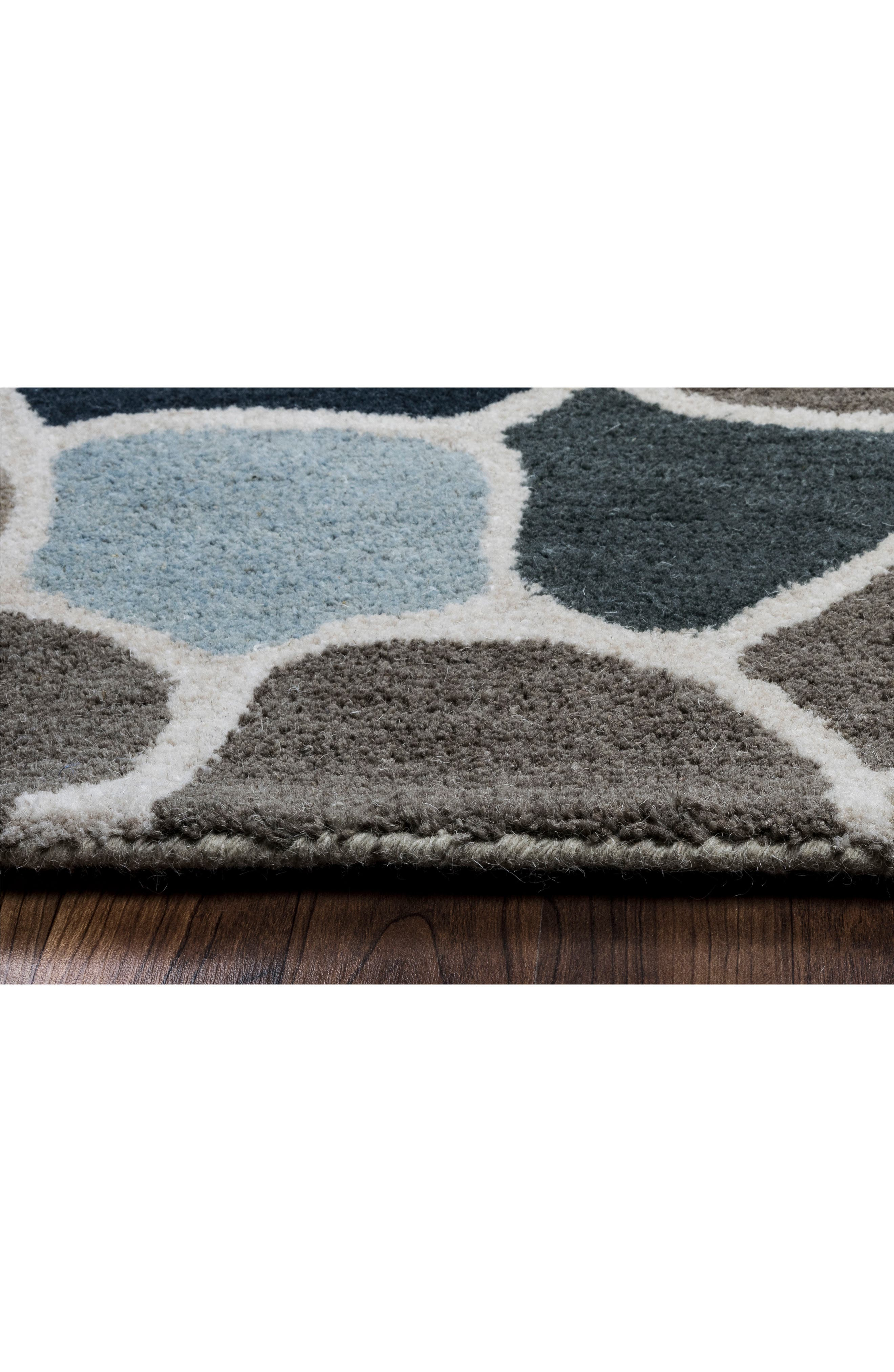Cobble Geo Hand Tufted Wool Area Rug,                             Alternate thumbnail 3, color,                             Grey/ Blue