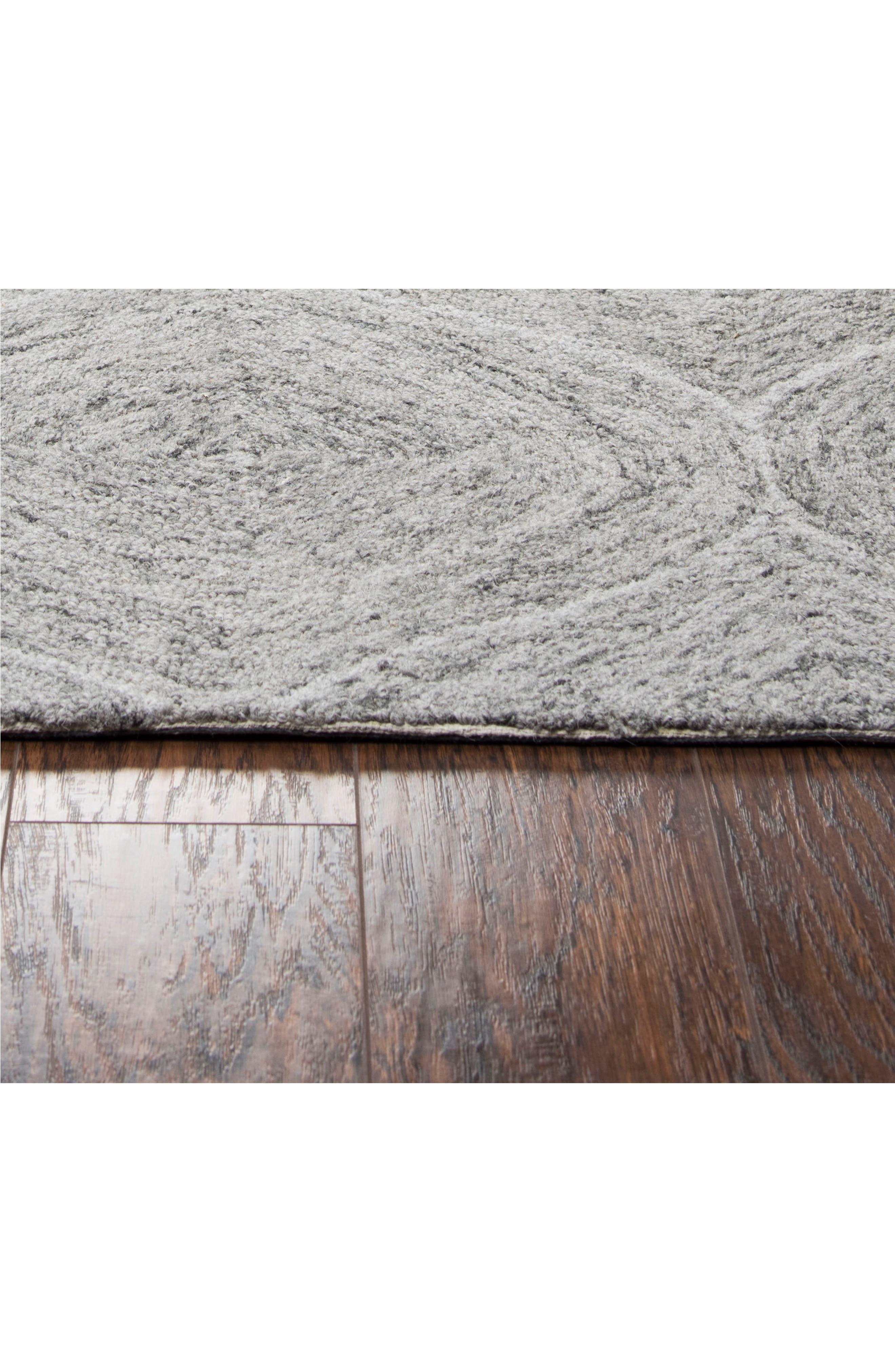 Irregular Diamond Hand Tufted Wool Area Rug,                             Alternate thumbnail 3, color,                             Grey
