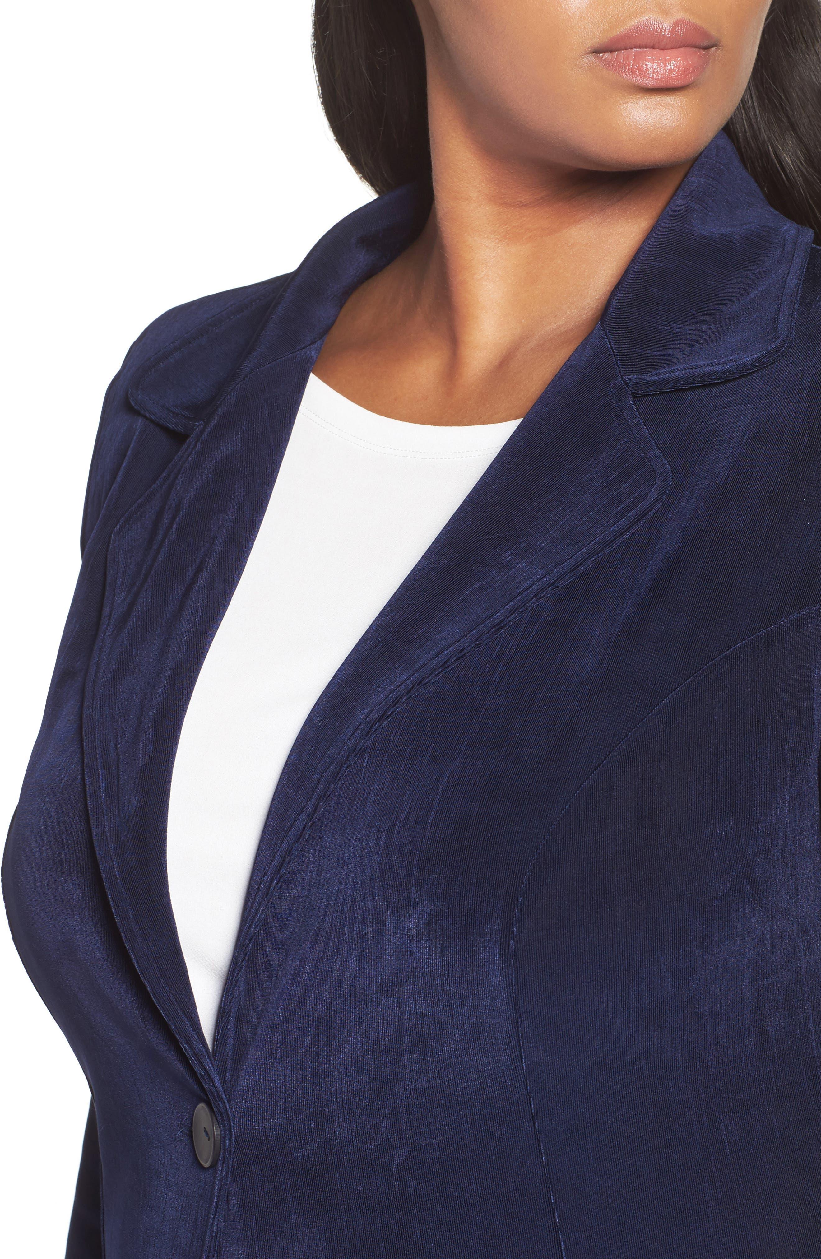 One-Button Stretch Knit Blazer,                             Alternate thumbnail 4, color,                             Navy