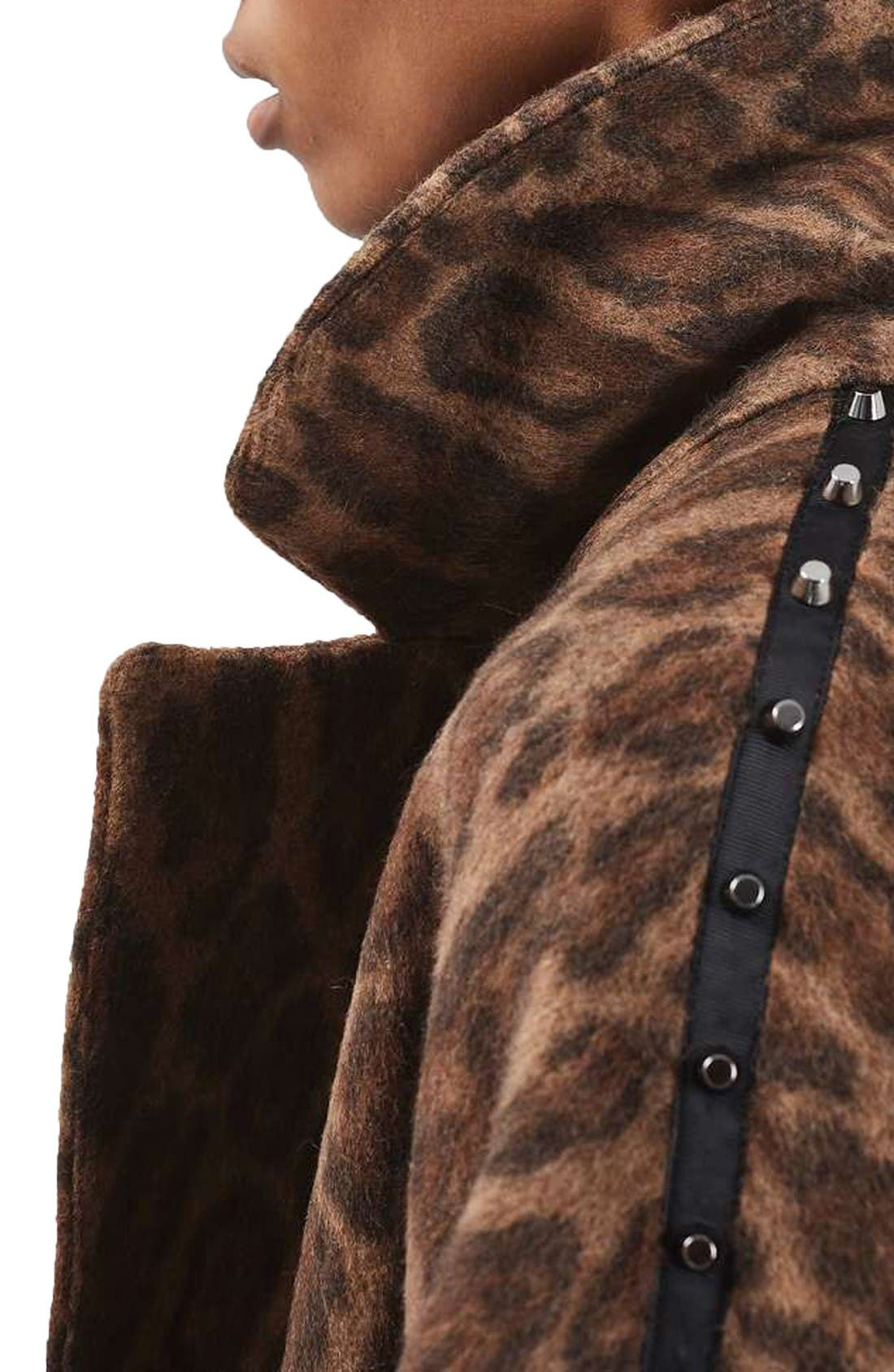 Alternate Image 6  - Topshop Stud Trim Leopard Print Coat