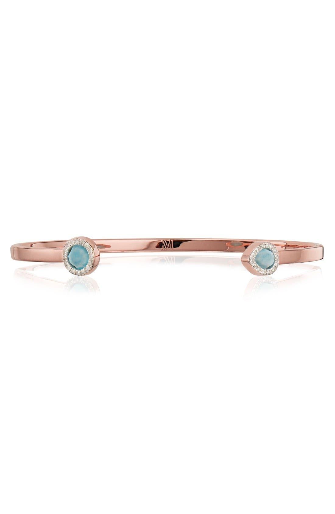 Naida Thin Diamond Cuff,                             Main thumbnail 1, color,                             Rose Gold/ Larimar