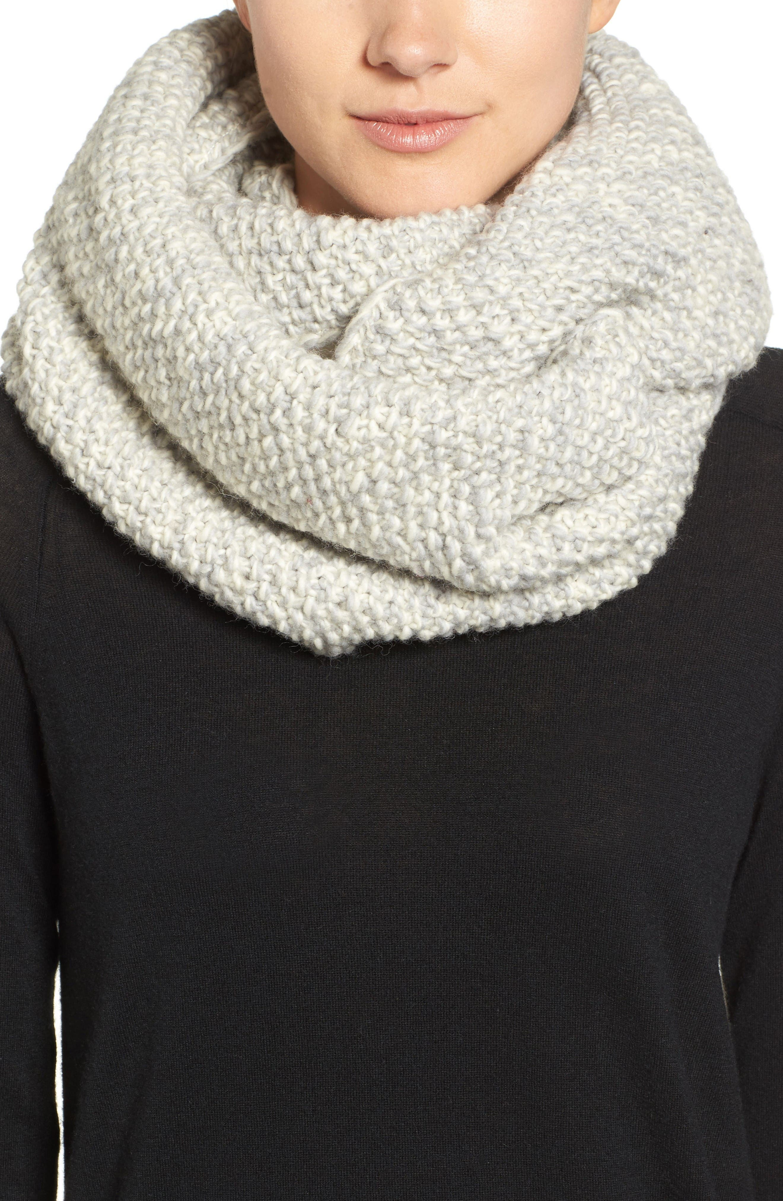 Knit Wool Infinity Scarf,                         Main,                         color, Grey