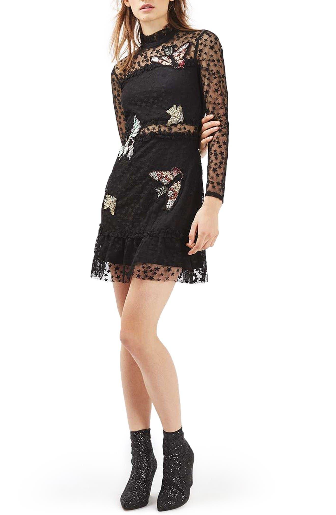 Alternate Image 1 Selected - Topshop Bird Embellished Star Dress